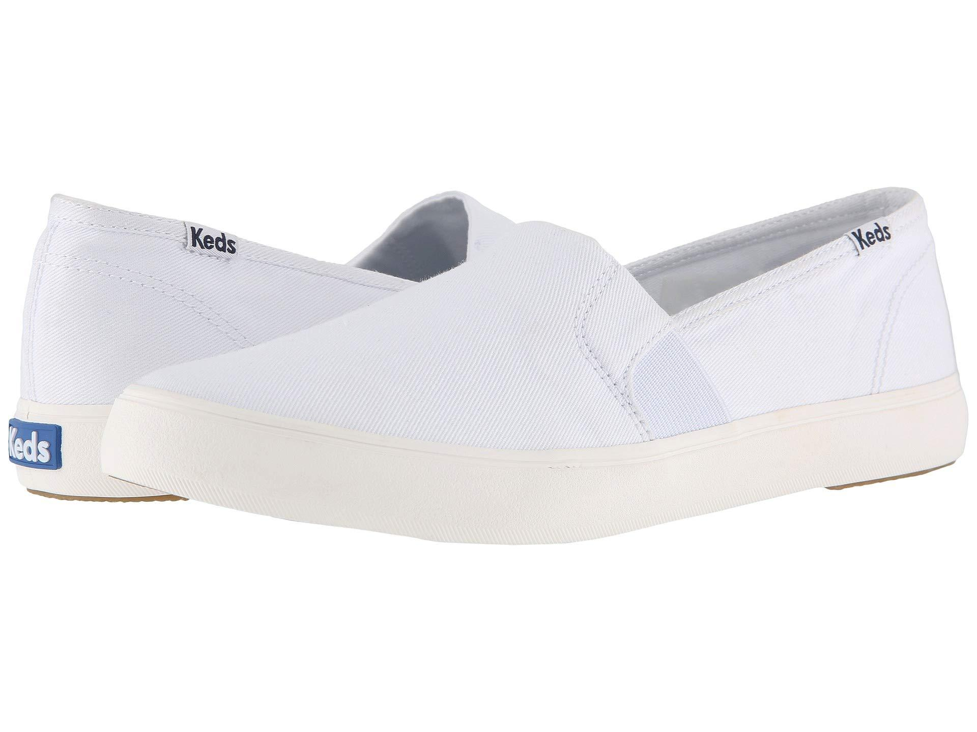 e3d6a90bb33 Lyst - Keds Clipper Washed Solids (navy) Women s Slip On Shoes in White