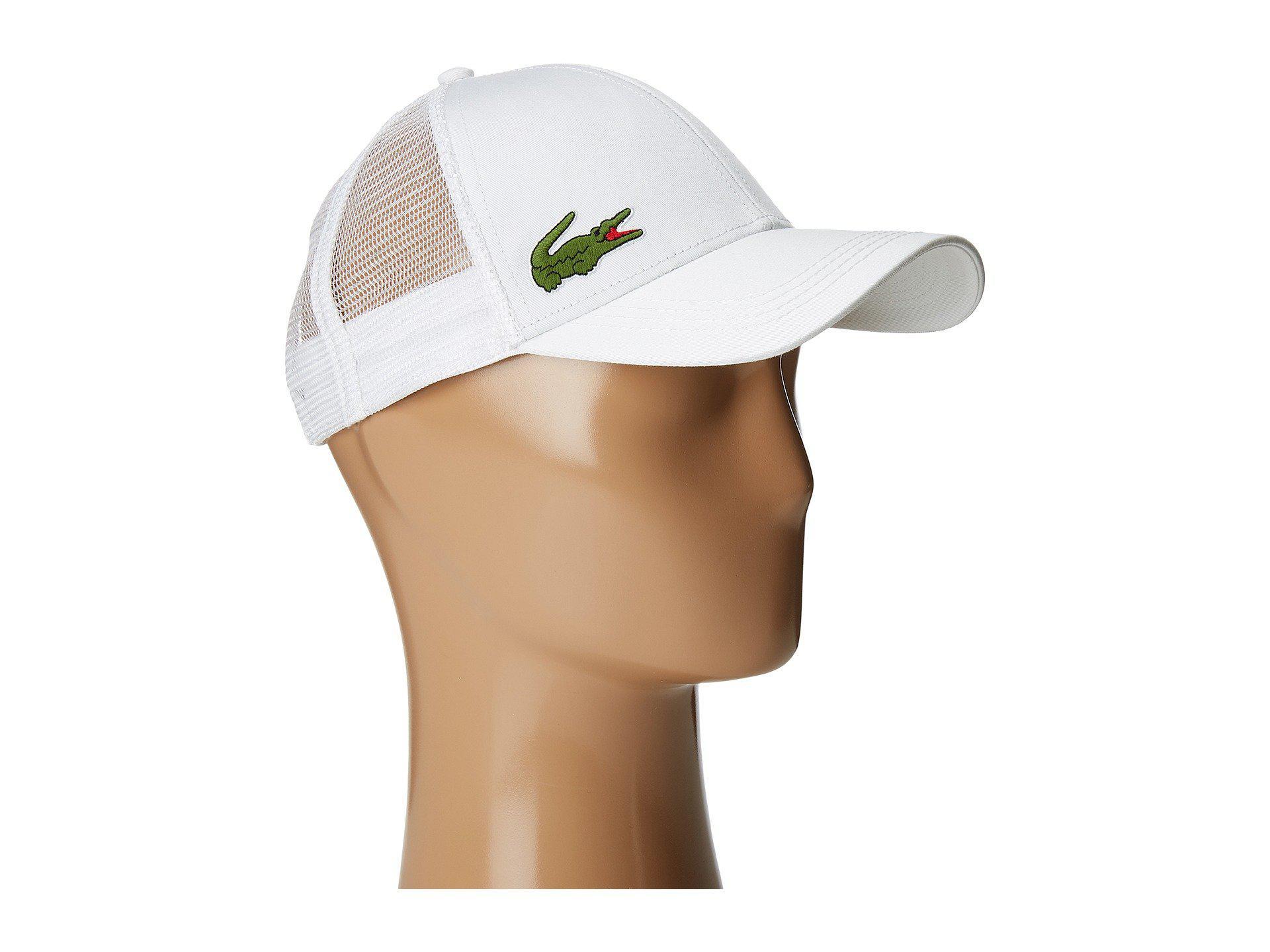 b23d32b25af Lacoste - Classic 5cm Croc Trucker Hat (white) Caps for Men - Lyst. View  fullscreen