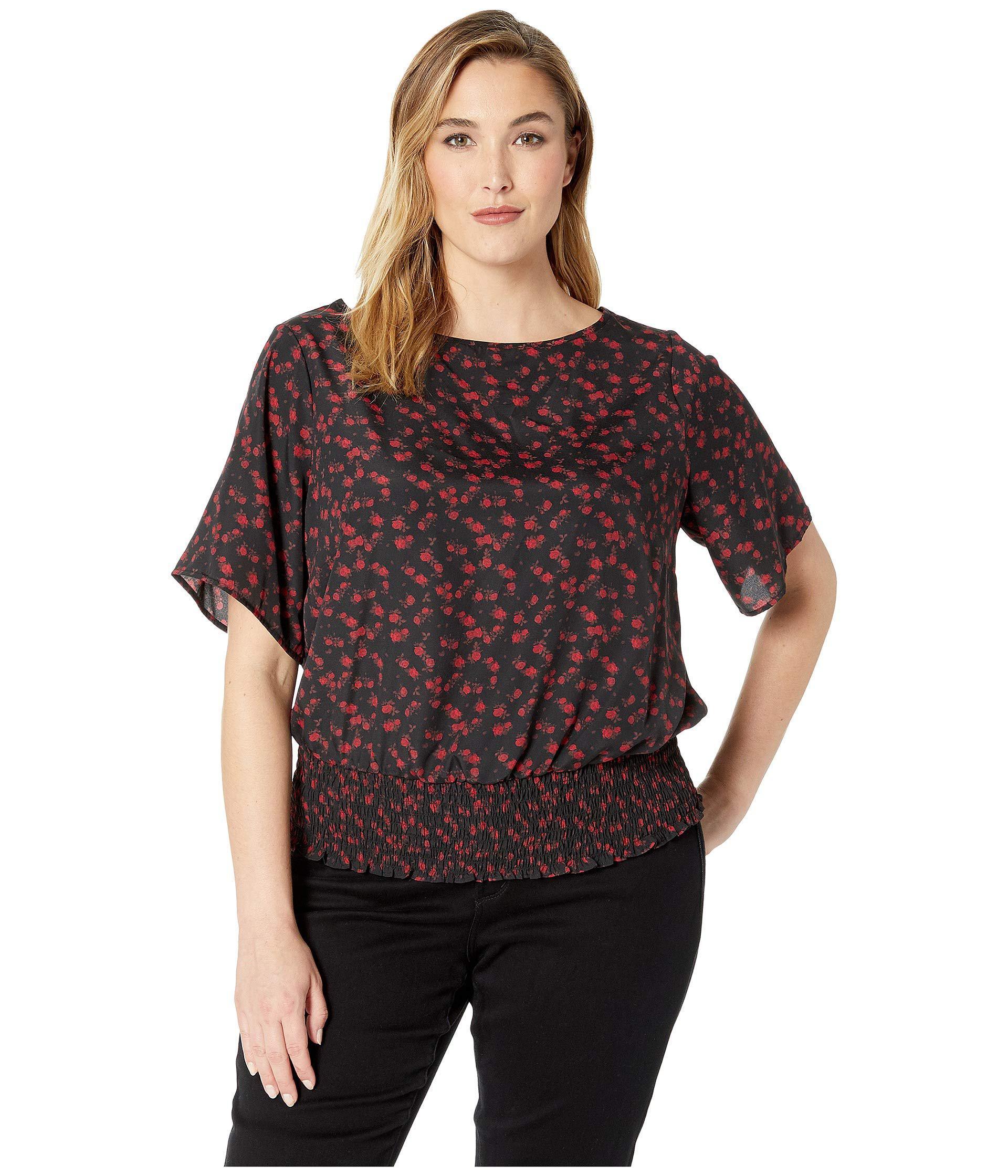 24986986811582 MICHAEL Michael Kors. Plus Size Mini Eden Rose Kimono (black/red Currant)  Women's Blouse