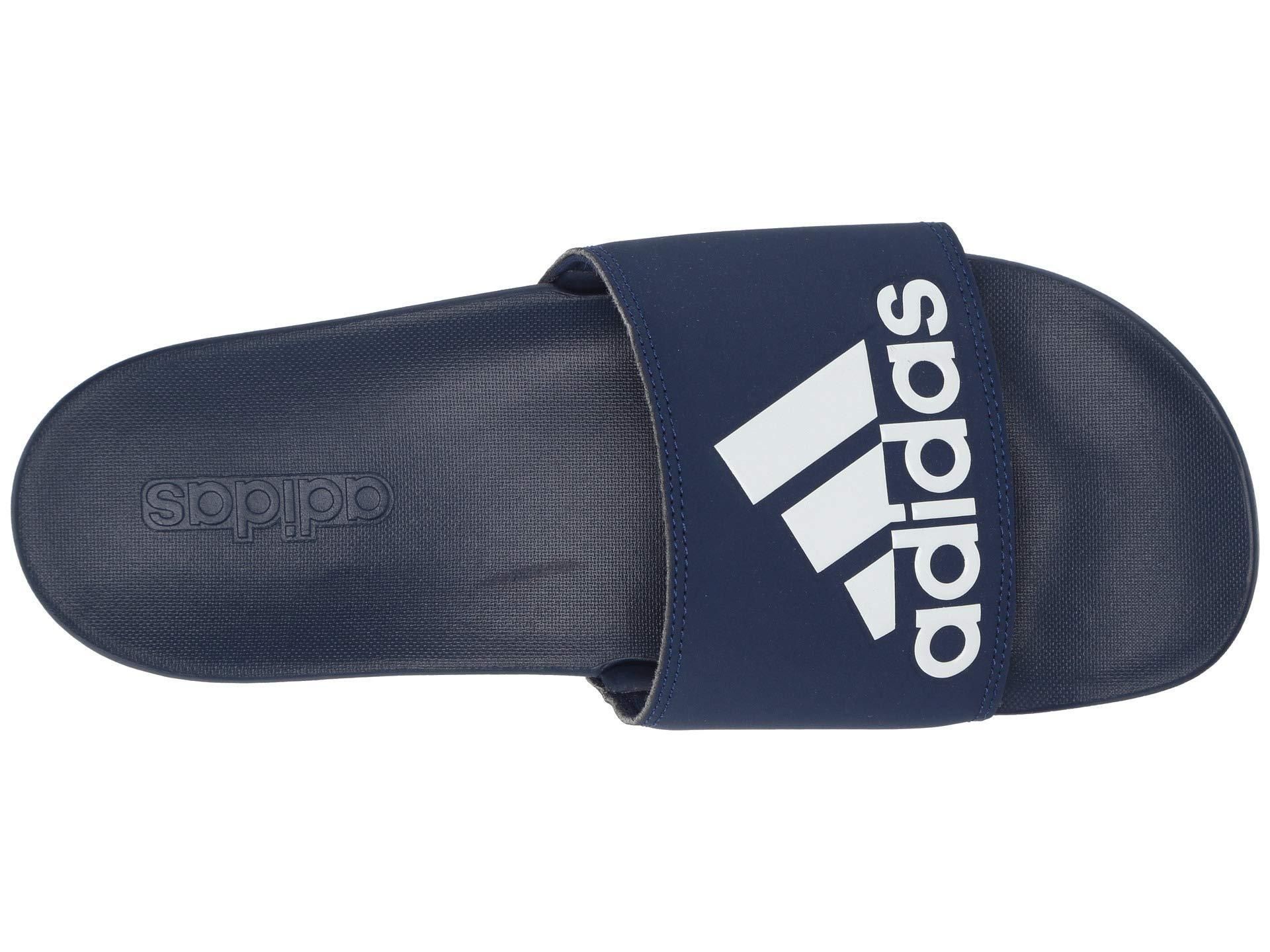 6ce968632f0a Adidas - Blue Adilette Cloudfoam Plus Logo Slides (footwear White silver  Metallic grey. View fullscreen