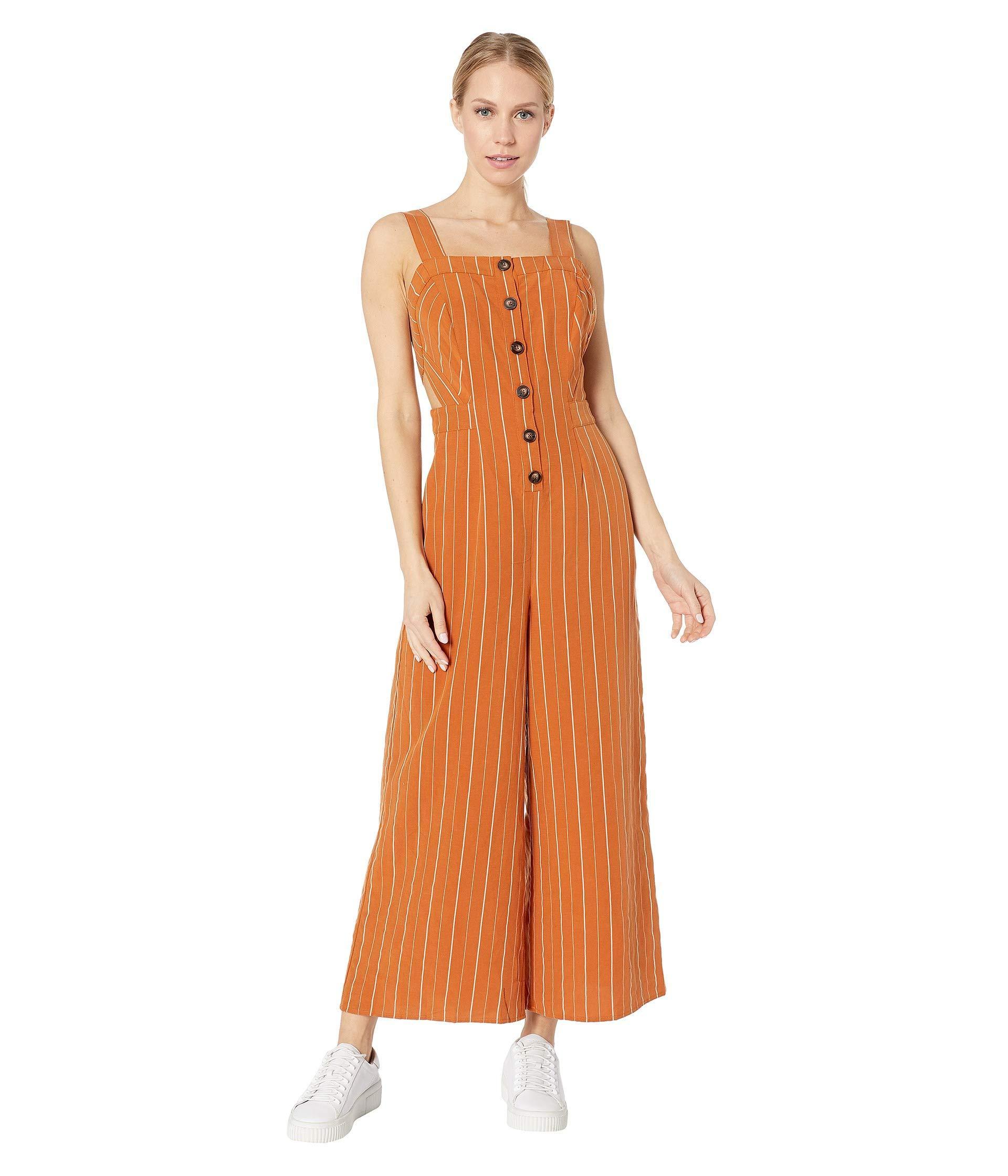 1358e4c9e70c Orange Baseline Jumpsuit (papaya Stripe) Women s Jumpsuit   Rompers One  Piece