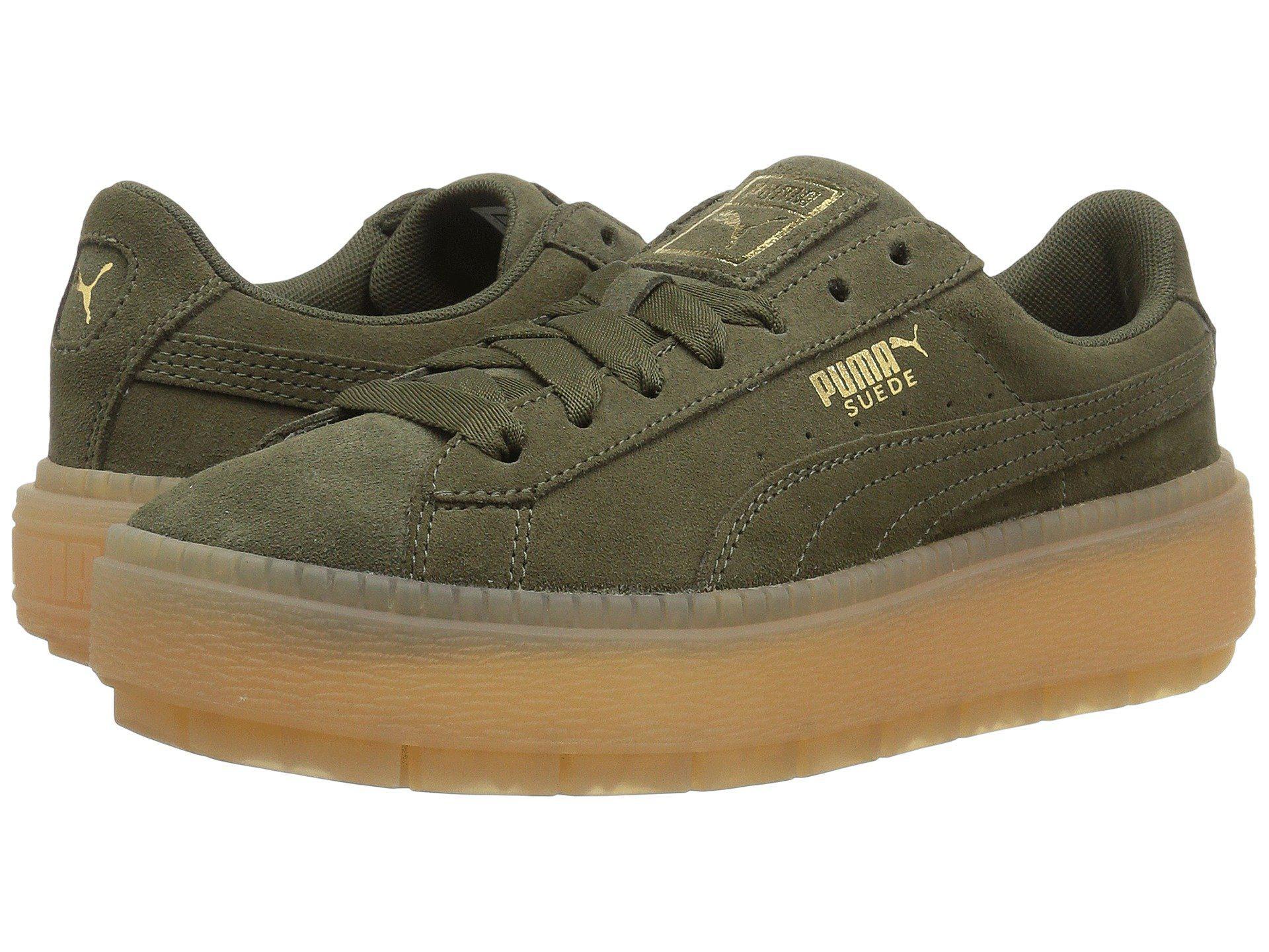 Lyst - Puma Suede Platform Trace ( Black  Black) Women s Shoes in Green 5171732371