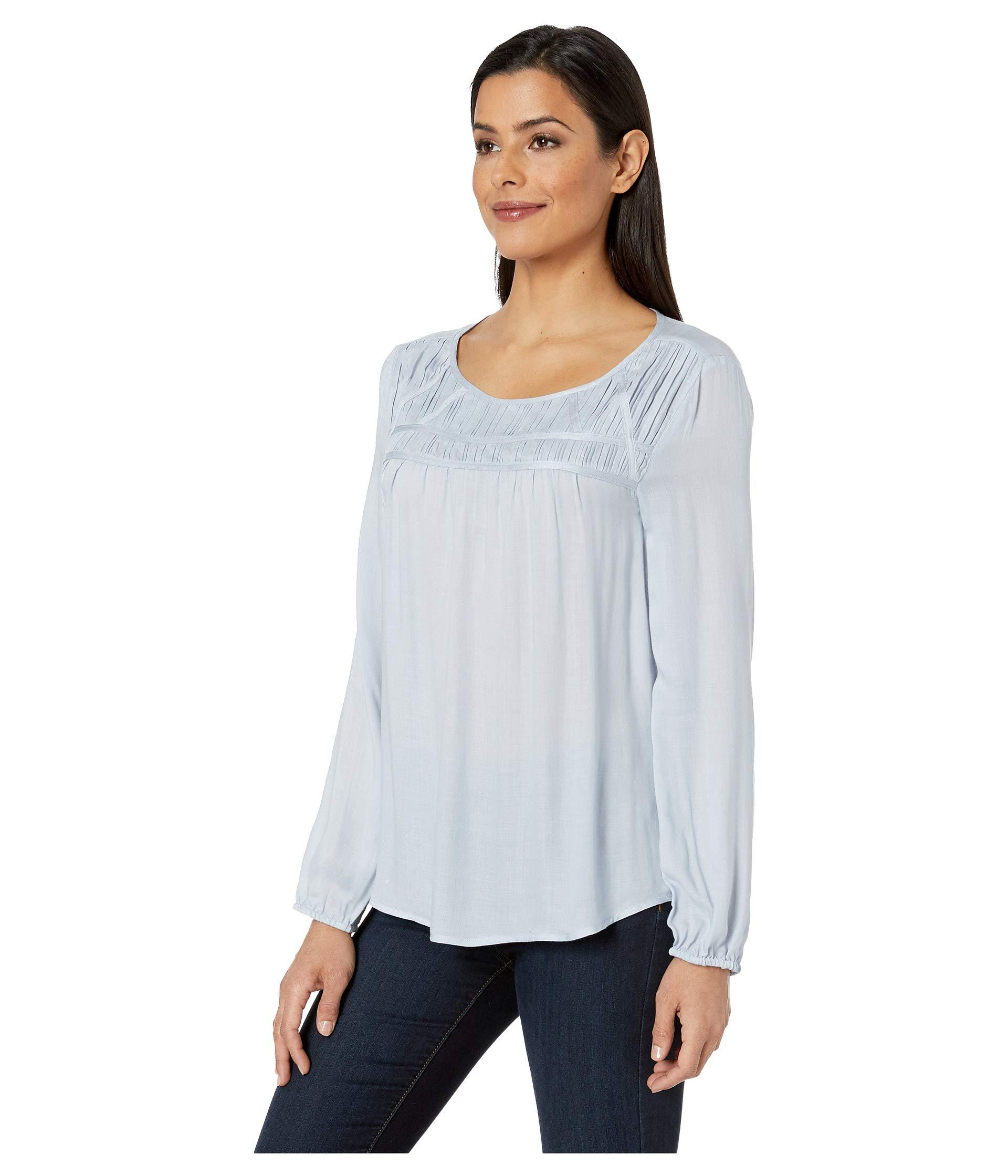 d9cadbeffc Two By Vince Camuto Long Sleeve Ruched Smock Yoke Rayon Twill Blouse  (northern Lights) Women s Blouse in Blue - Lyst