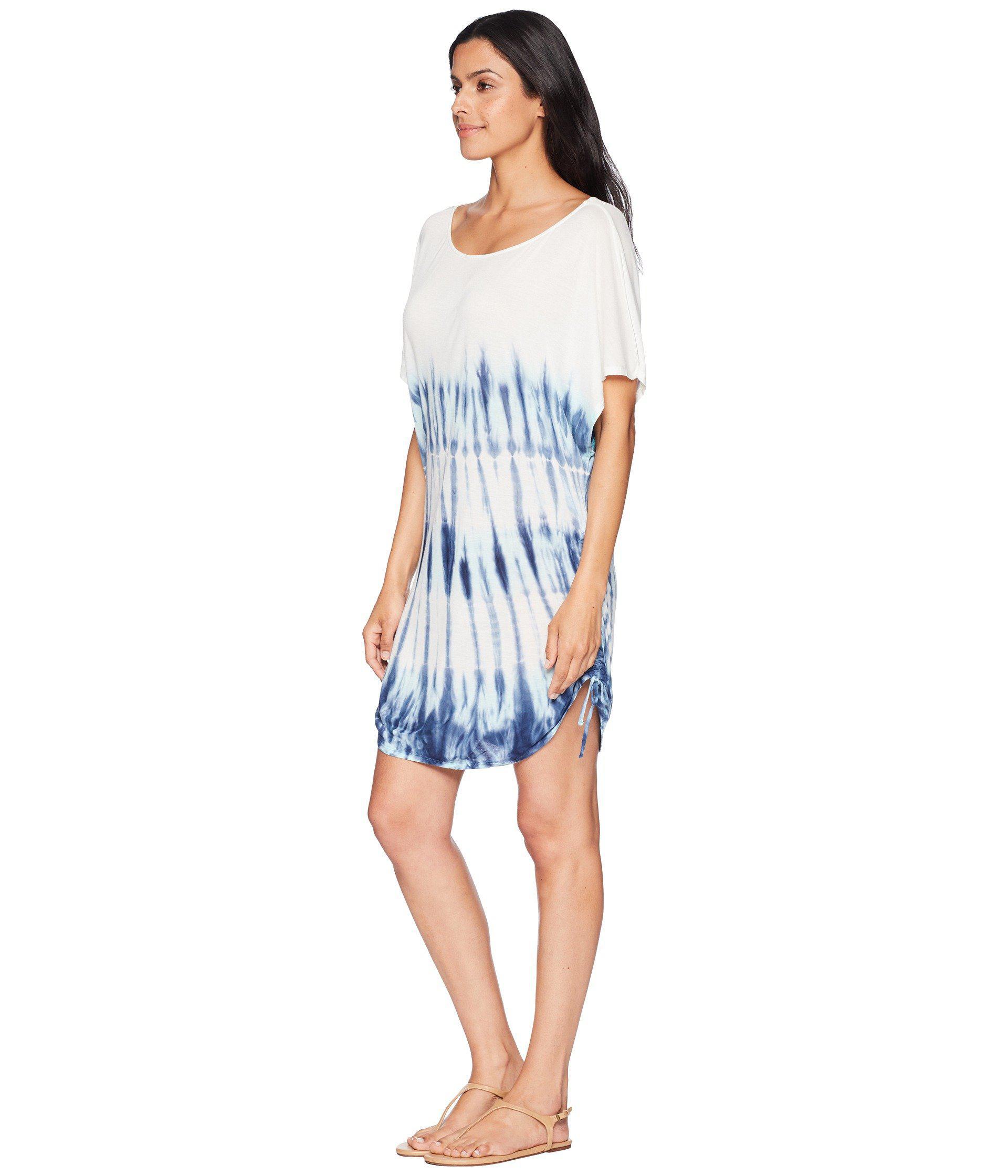 926ab5aead Lucky Brand Costa Azul Side Shirred Tunic Cover-up (indigo) Women's ...