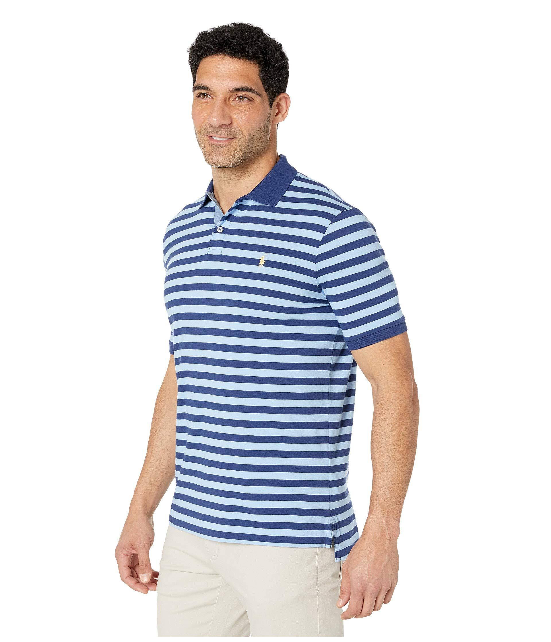 1e3e9b2c863 Polo Ralph Lauren Classic Fit Striped Jersey Polo Shirt (freshwater/garden  Pink) Men's Clothing in Blue for Men - Lyst
