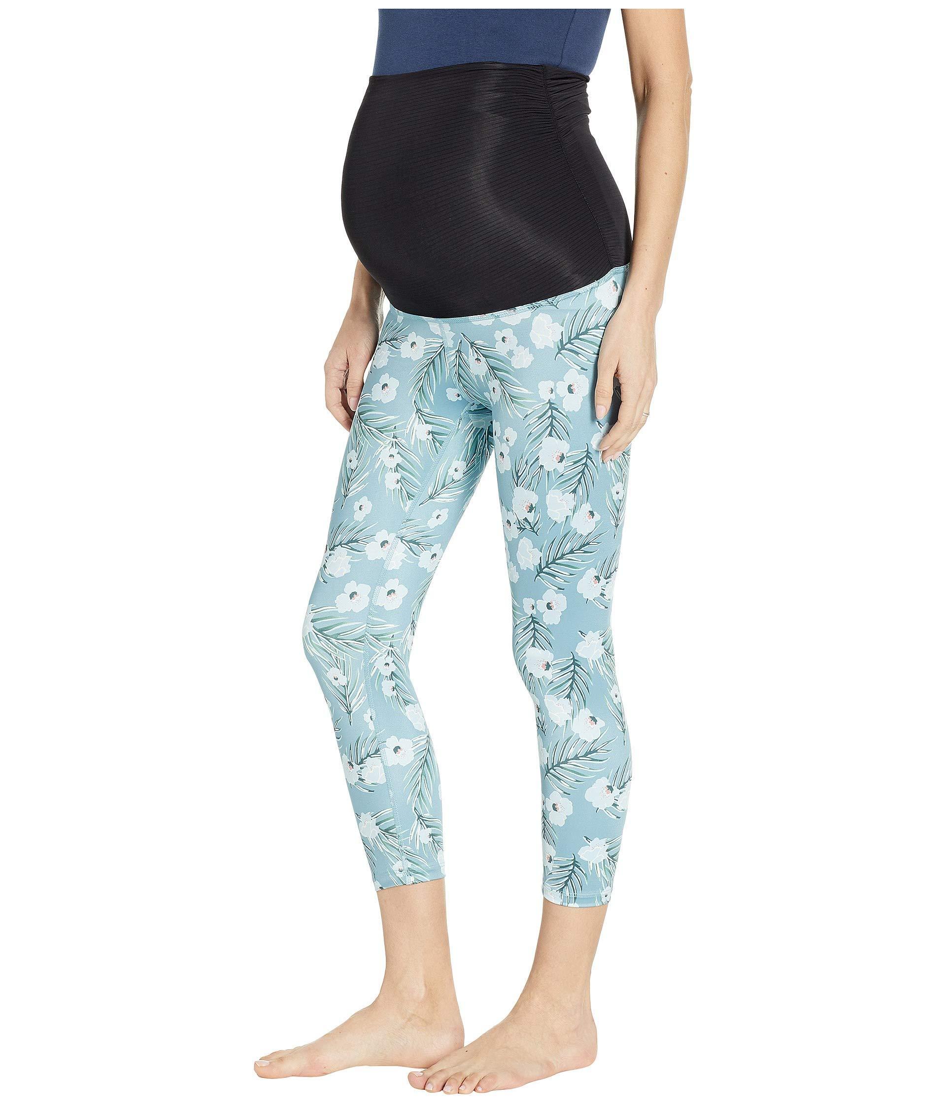 02555d1bde619a Beyond Yoga Fold Down Maternity Capri Leggings (sky Blossoms) Women's  Casual Pants in Blue - Lyst
