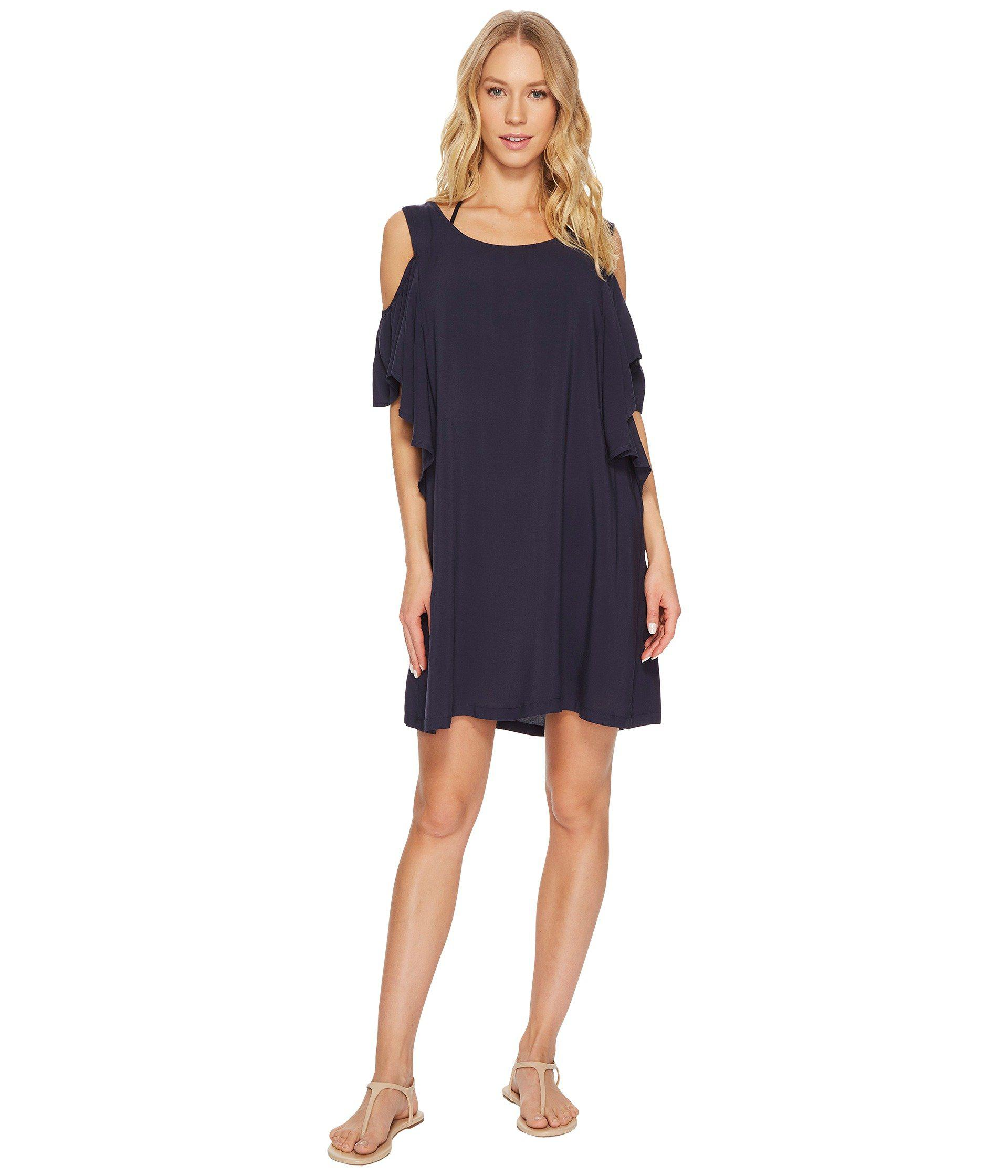 65bf0c381f MICHAEL Michael Kors. Blue Geometric Glamour Solids Cold Shoulder Ruffle  Dress Cover-up ...