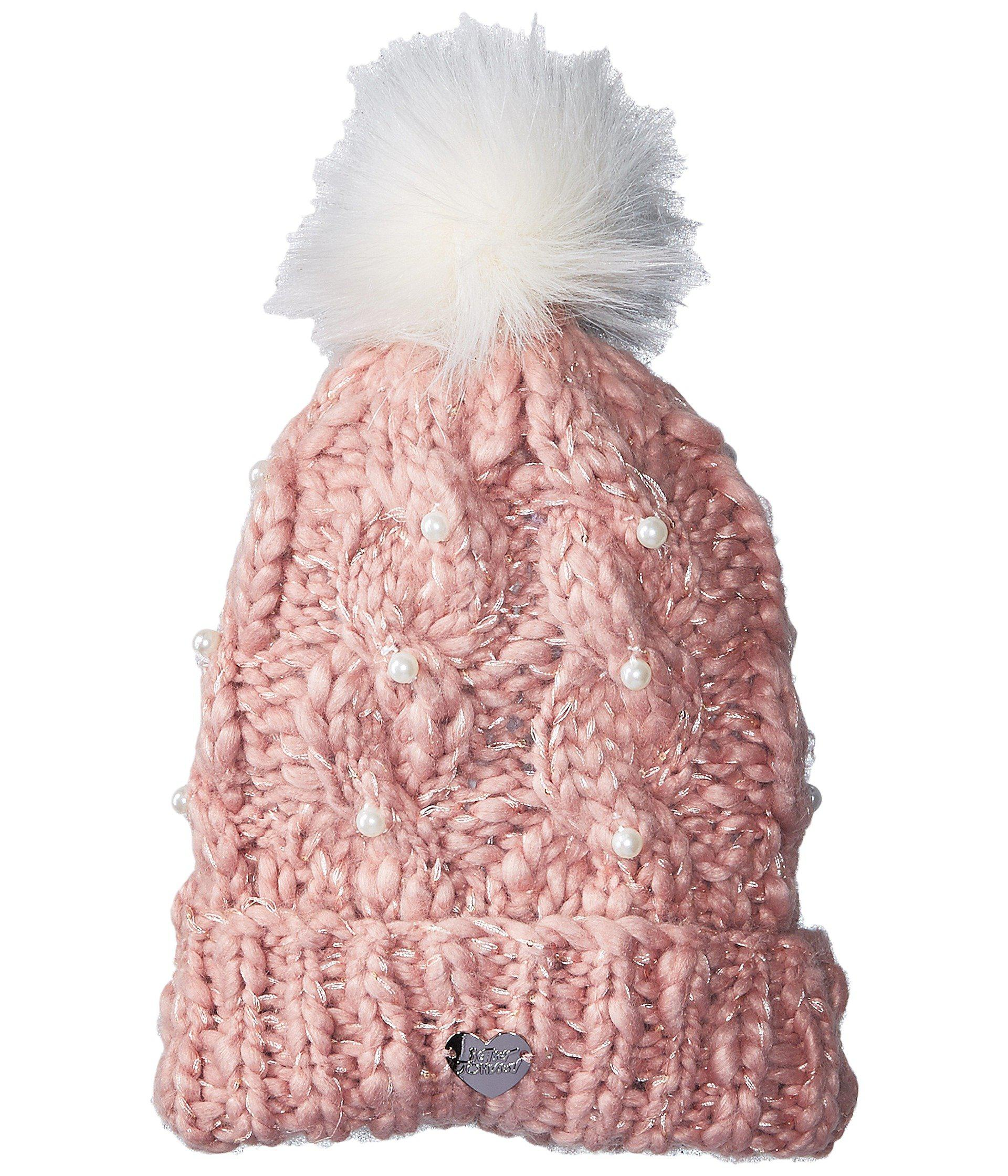 Lyst - Betsey Johnson Pearly Girl Cuff Hat in Pink 4ad52ec43