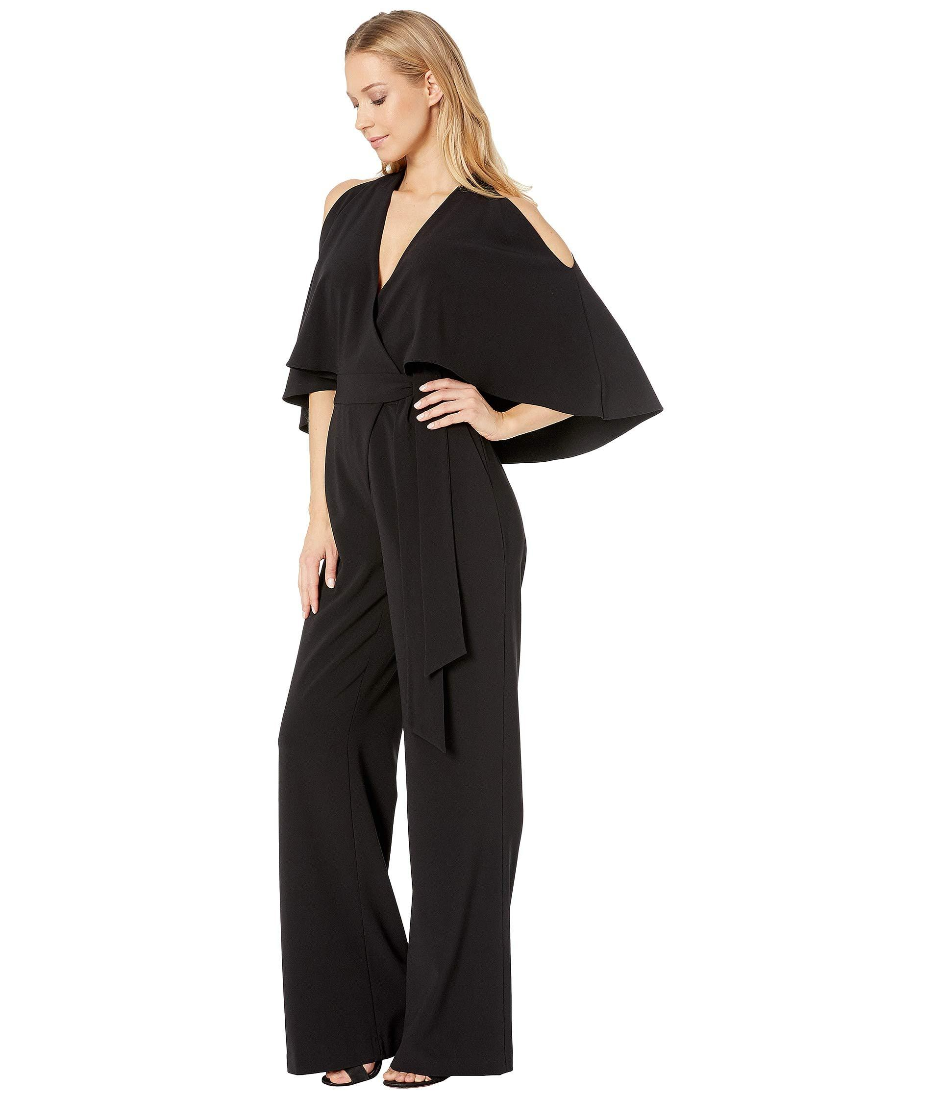 f7fb92882ac1 Lyst - Halston Heritage Cold Shoulder V-neck Jumpsuit With Waist Sash (black  1) Women s Jumpsuit   Rompers One Piece in Black