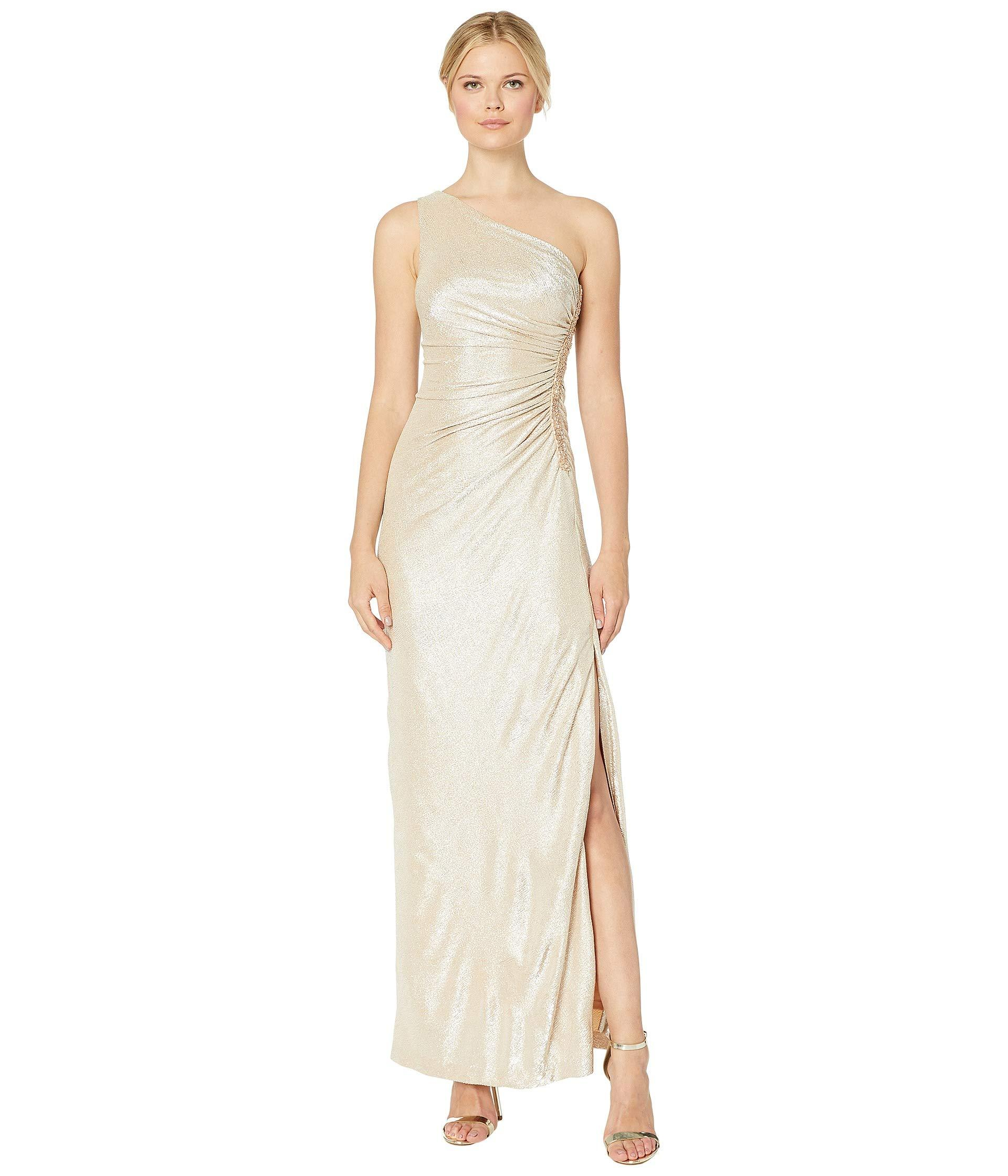 789ad44e861e Lyst - Calvin Klein One Shoulder Ruched Gown (buff/silver) Women's ...