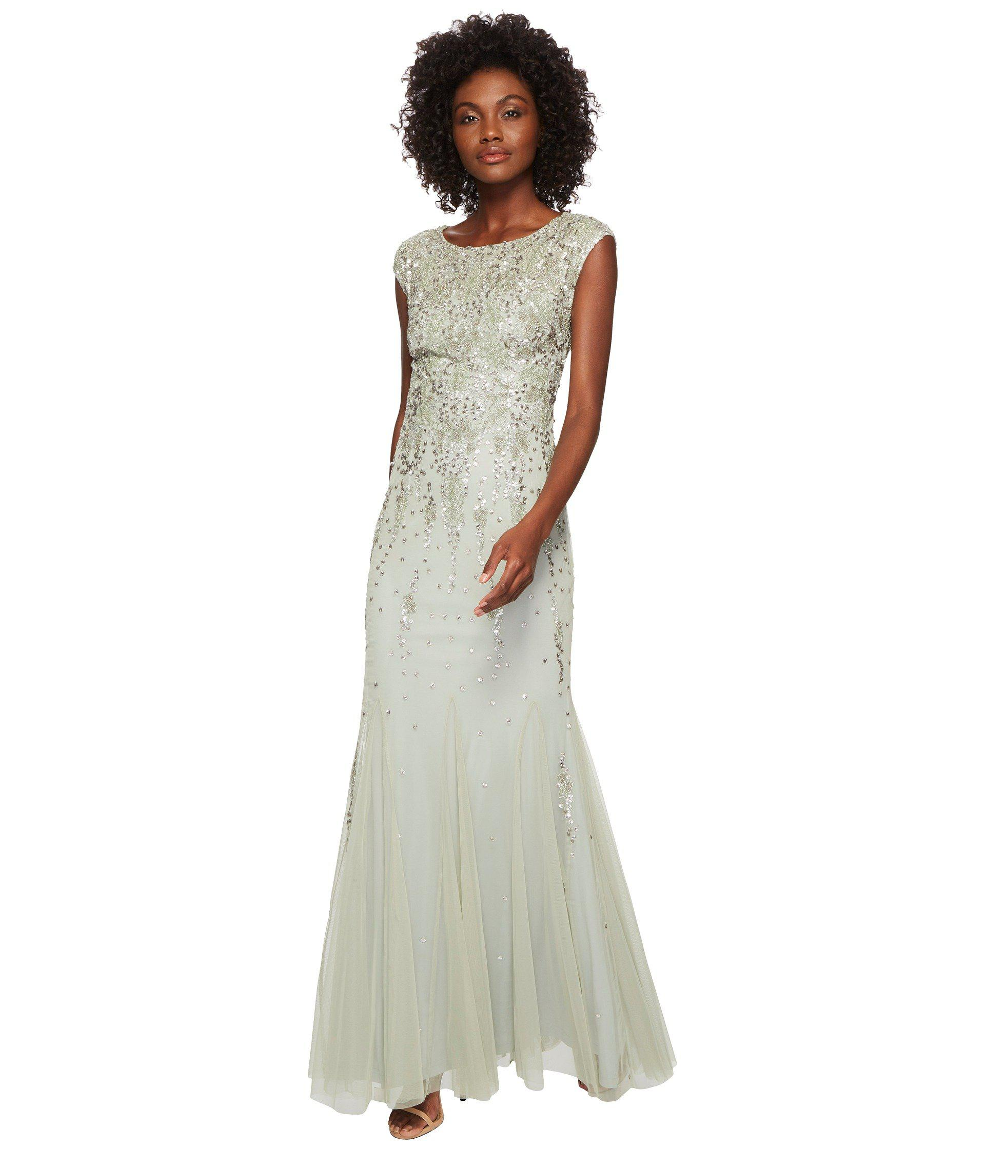 Lyst - Adrianna Papell Cap Sleeve Fully Beaded Mob Gown (mint ...