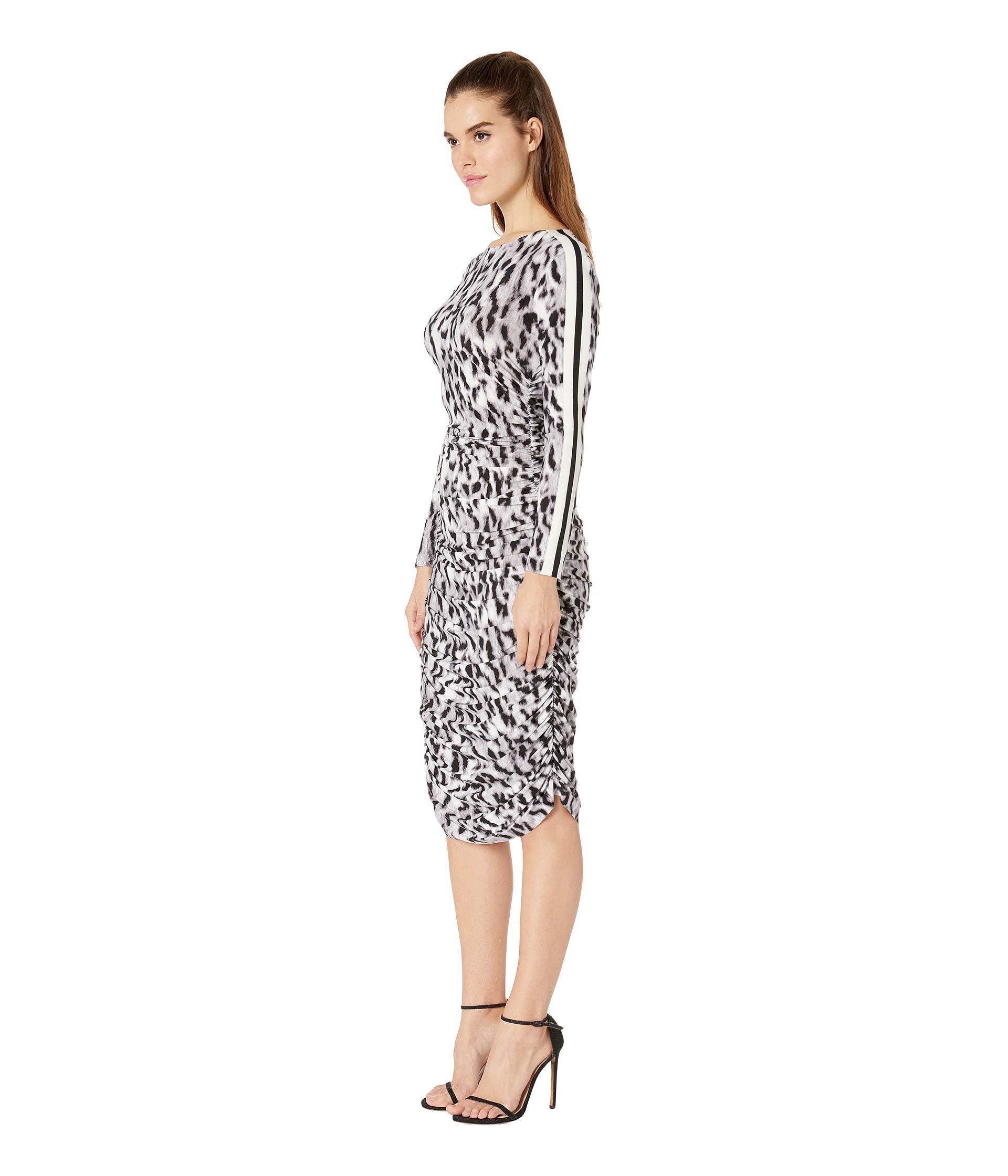 d8a225eccb Lyst - Kamalikulture Side Stripe Long Sleeve Shirred Waist Dress (abstract  Leopard engineered Stripe) Women s Dress