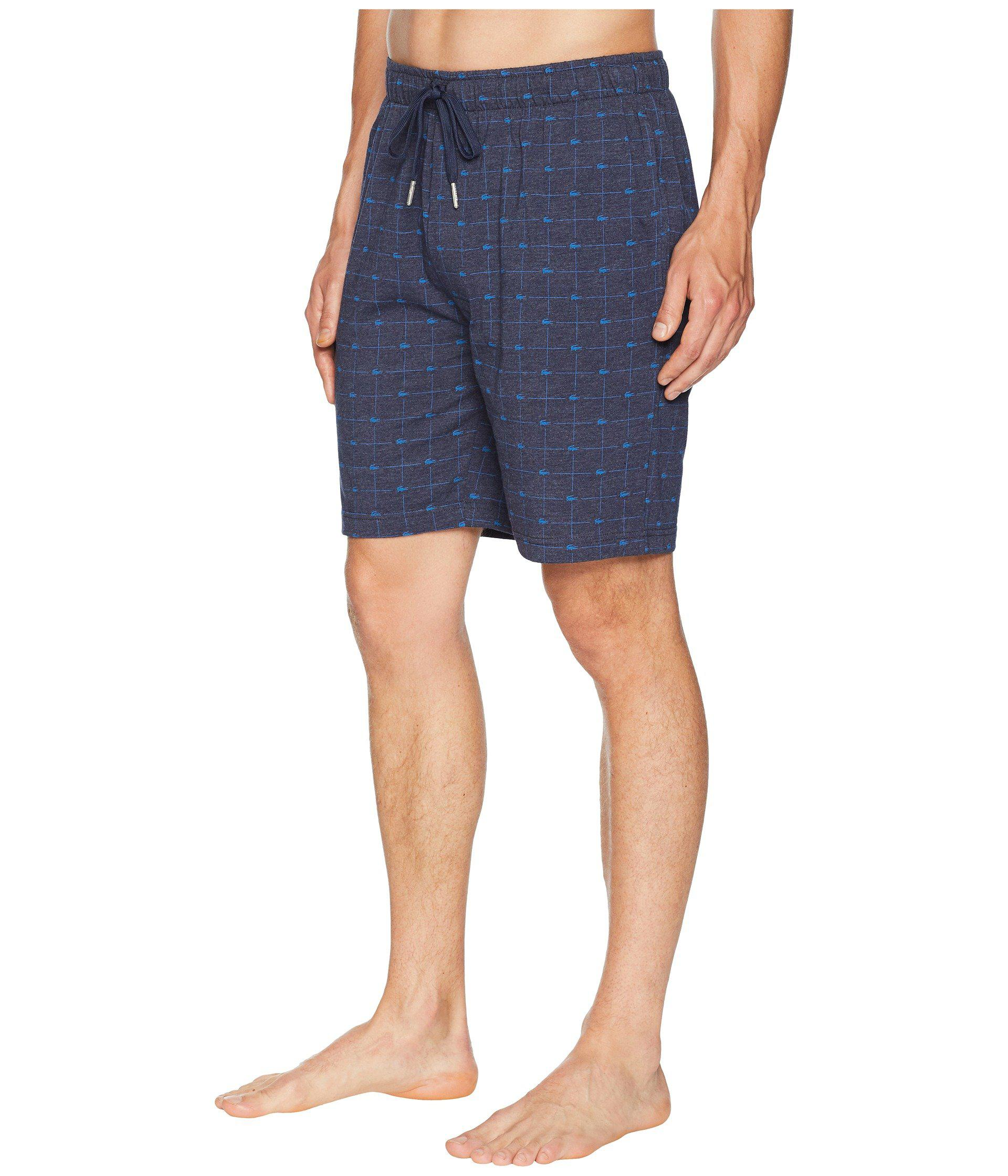a3ad9ec4469 Lyst - Lacoste Signature Print Knit Shorts (navy) Men's Pajama in ...