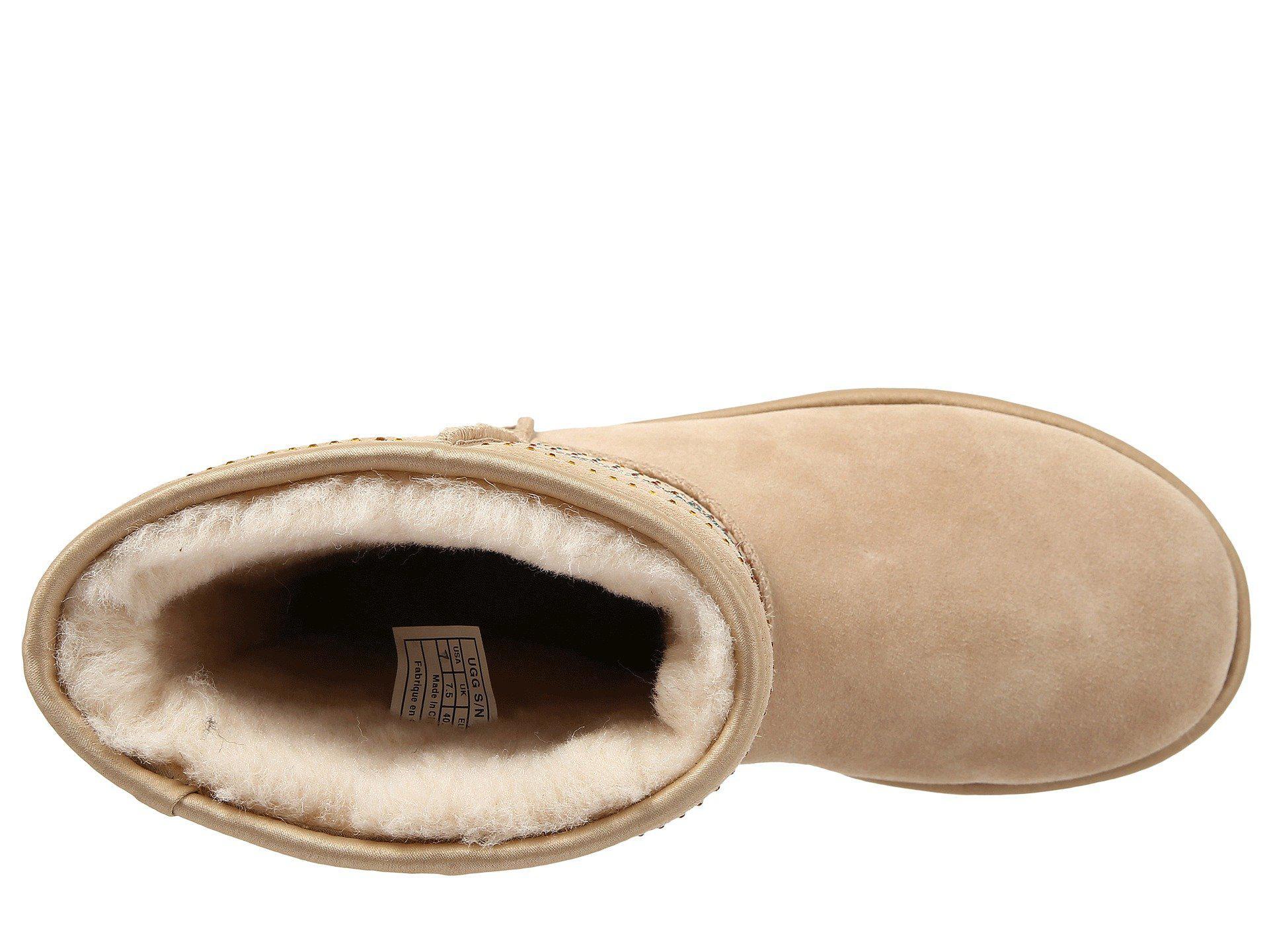Ugg - Natural Classic Short Serape Bling (sand Twinface) Women's Pull-on Boots. View fullscreen