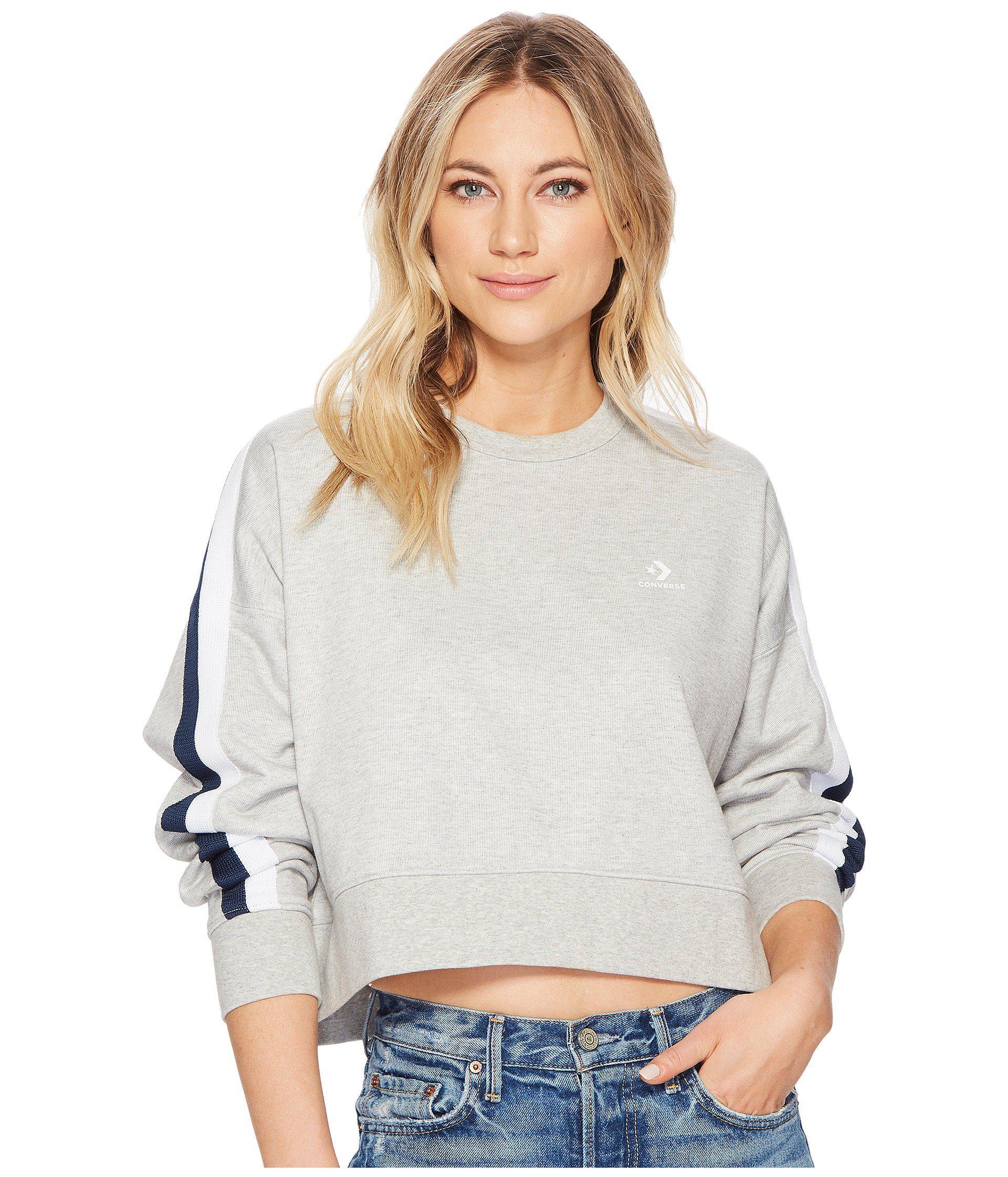 Converse Women's Star Chevron Cropped Track Crew Sweatshirt