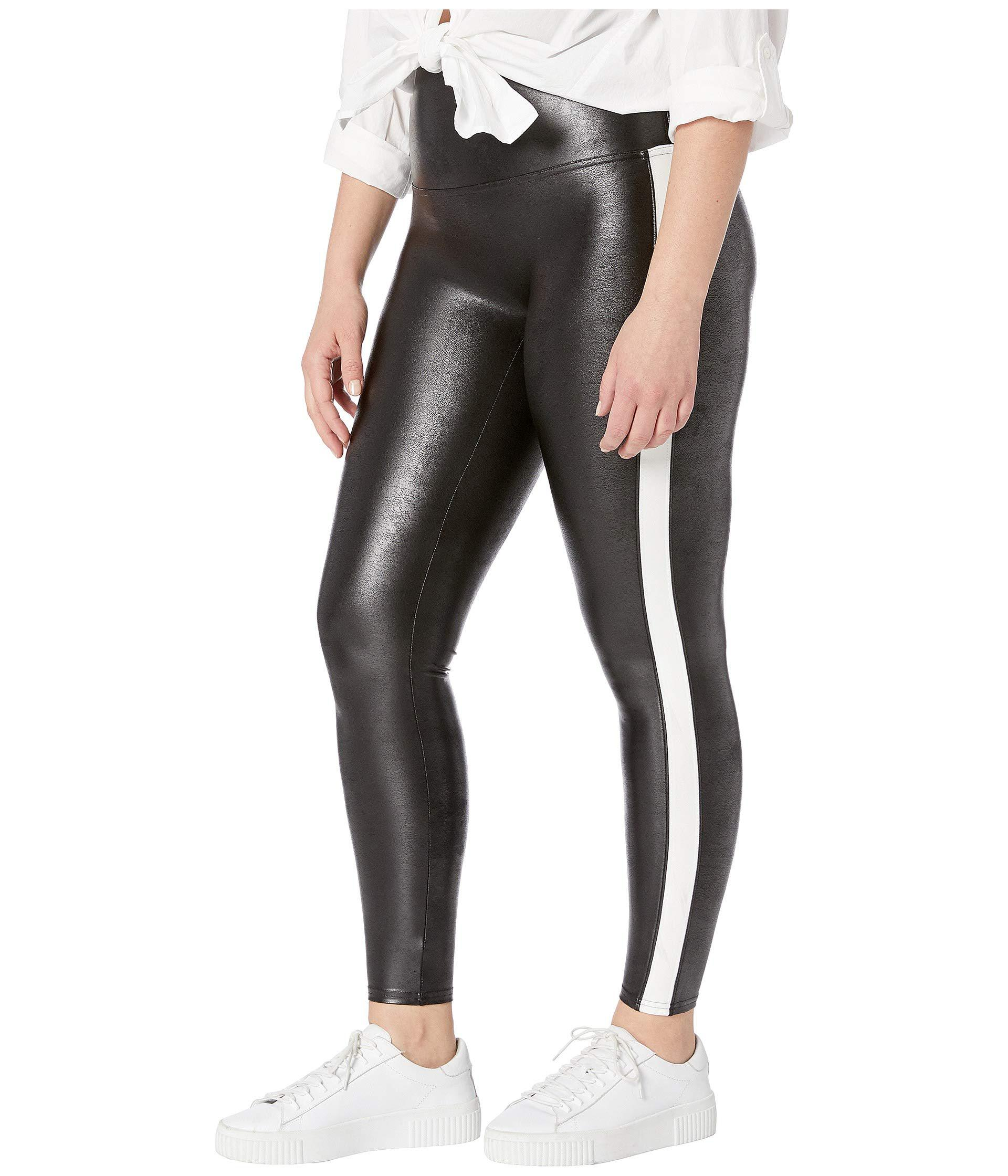 2e81b46e36e Lyst - Spanx Plus Size Faux Leather Side Stripe Leggings (very Black white)  Women s Casual Pants in Black