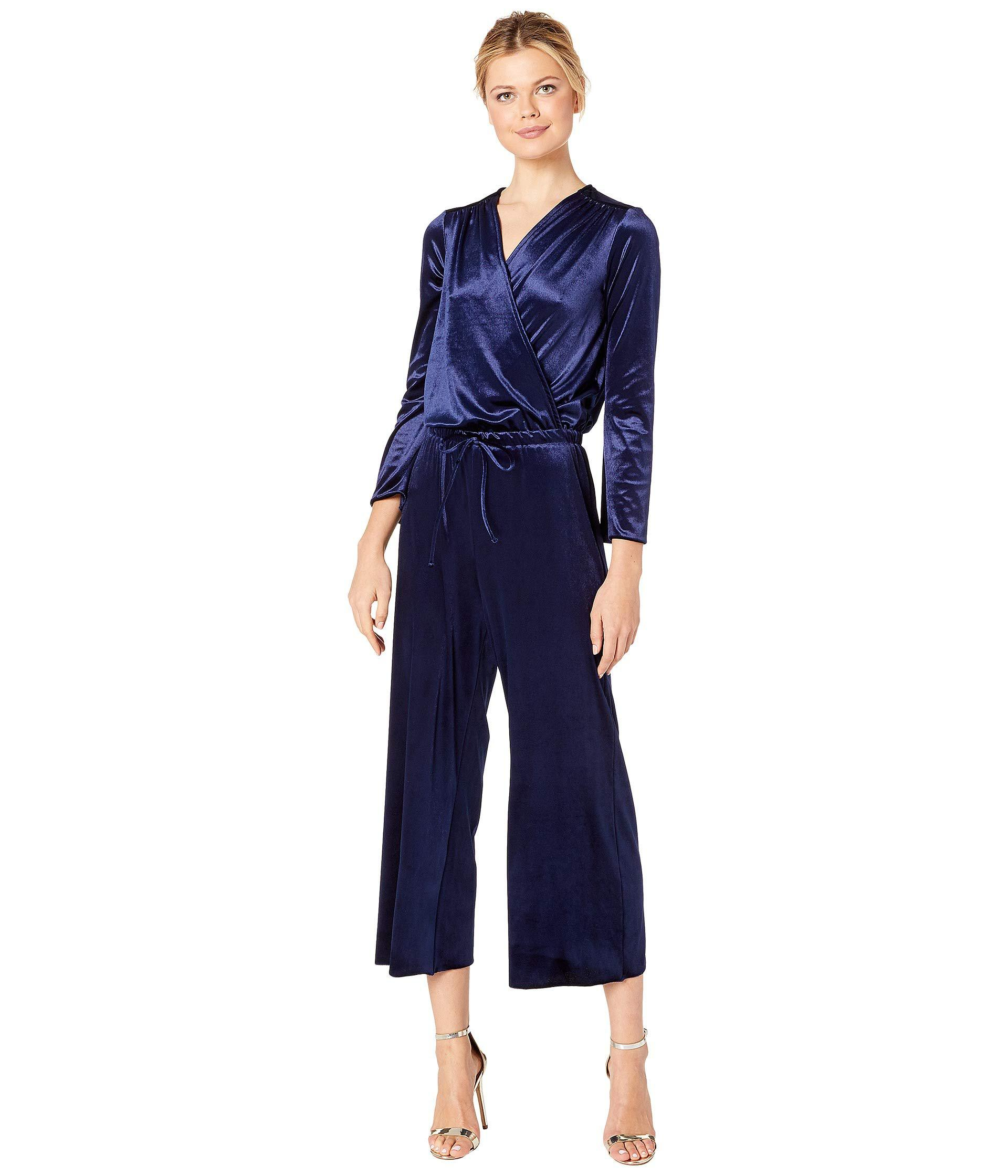 0579d1b0df3a Three Dots. Blue Stretch Panne Velvet Jumpsuit (navy) Women s Jumpsuit   Rompers  One Piece