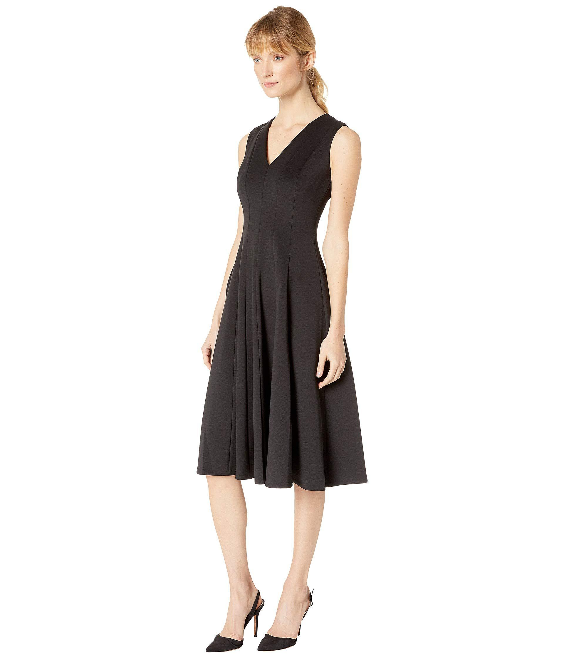 97d4834d1c17ef Lyst - Calvin Klein V-neck Scuba Fit Flare Dress Cd8m18yj (black) Women s  Dress in Black