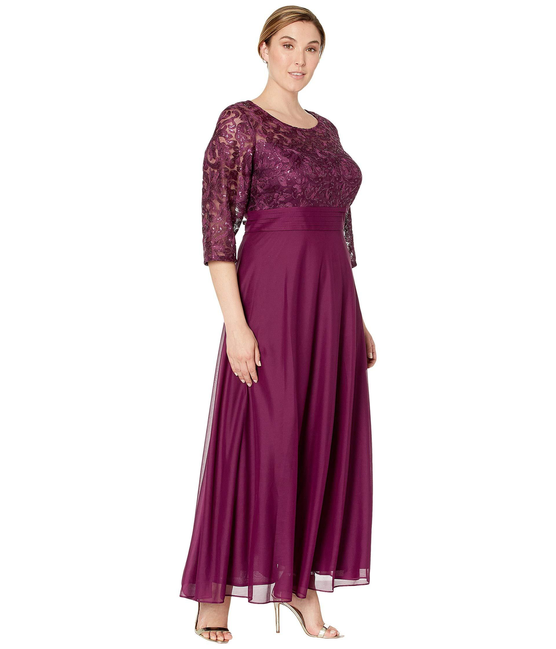 Lyst - Alex Evenings Plus Size Long A-line Dress With Embroidered ...