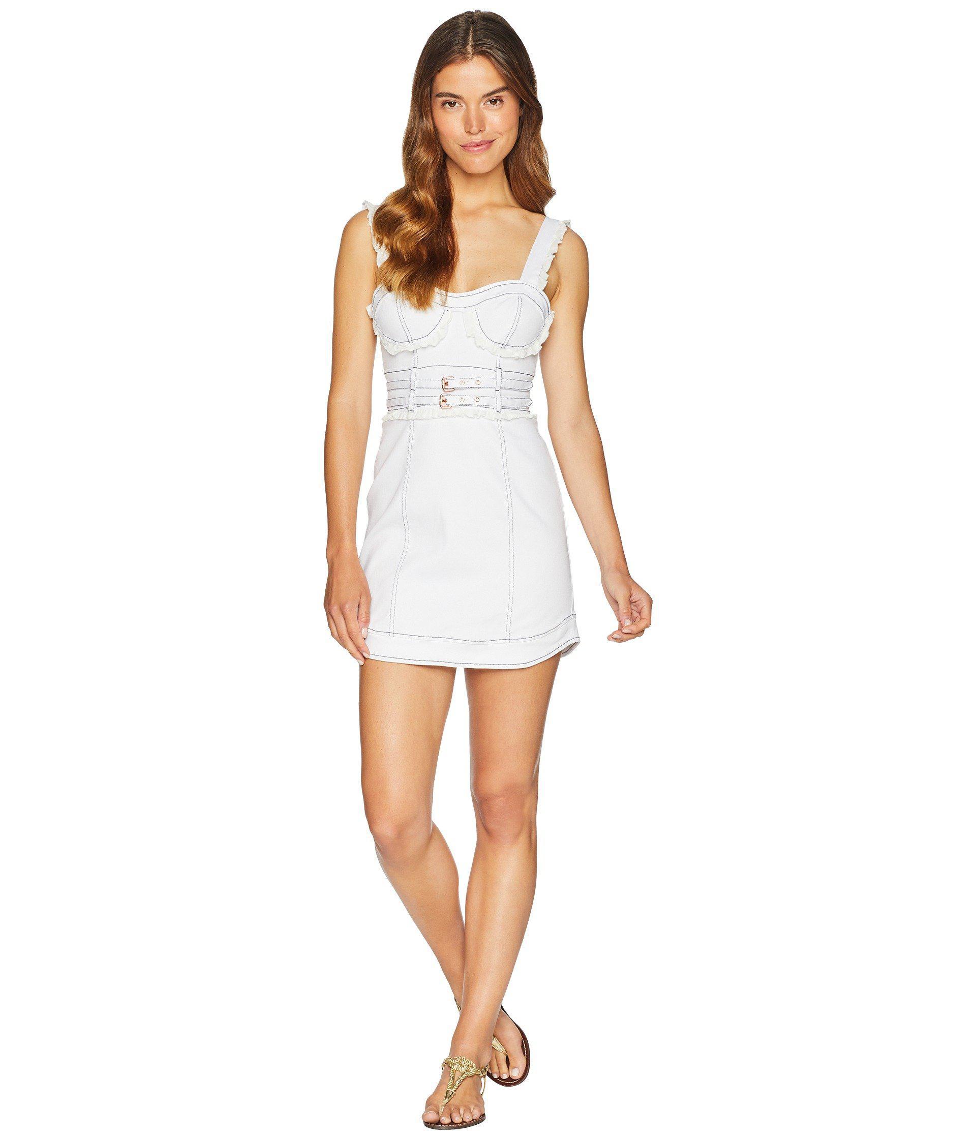 a5066efc46 Lyst - For Love   Lemons Daria Denim Underwire Dress (white Denim ...