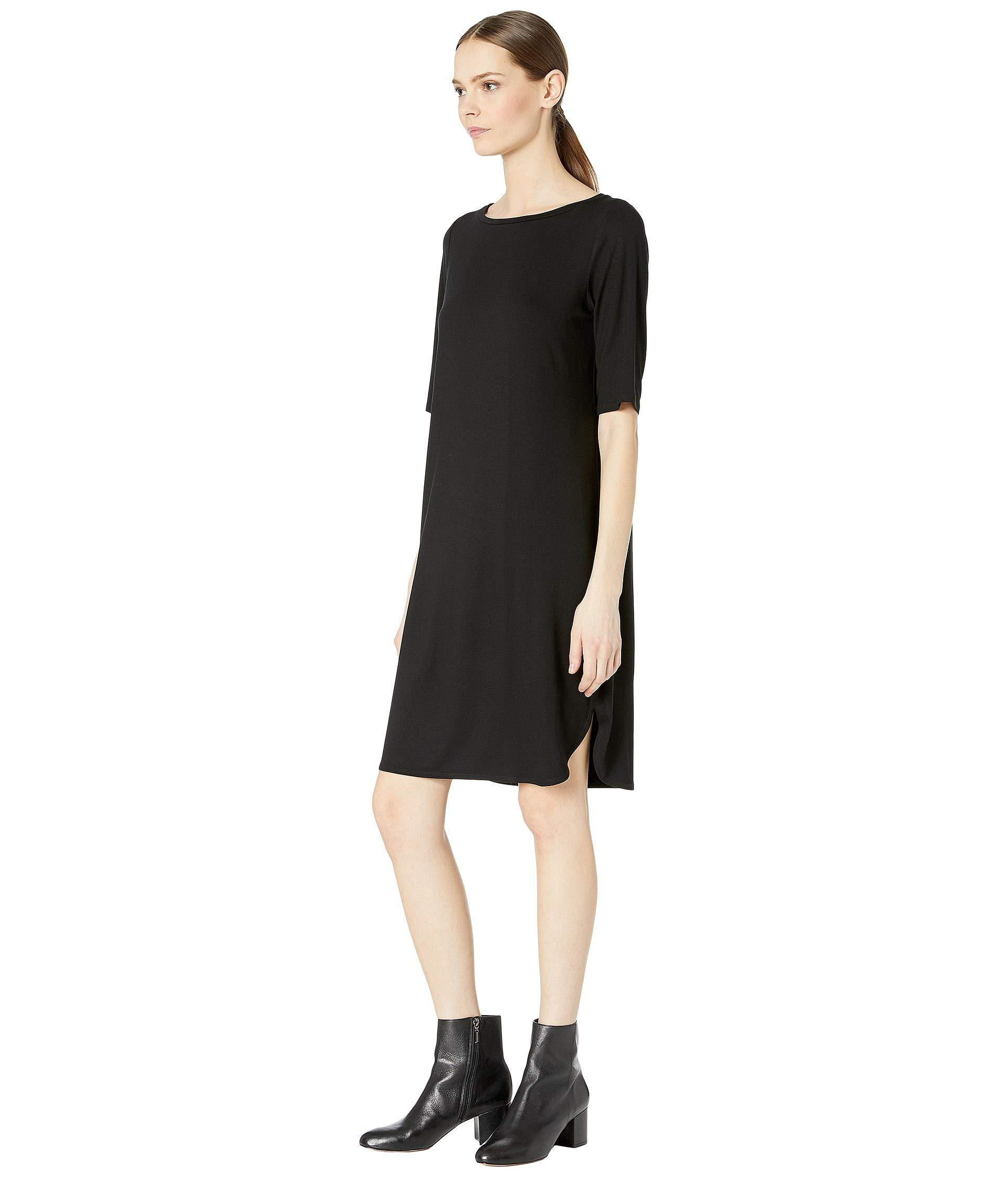 6365df04c7e Lyst - Eileen Fisher Bateau Neck Elbow Sleeve Dress (black) Women s Dress  in Black