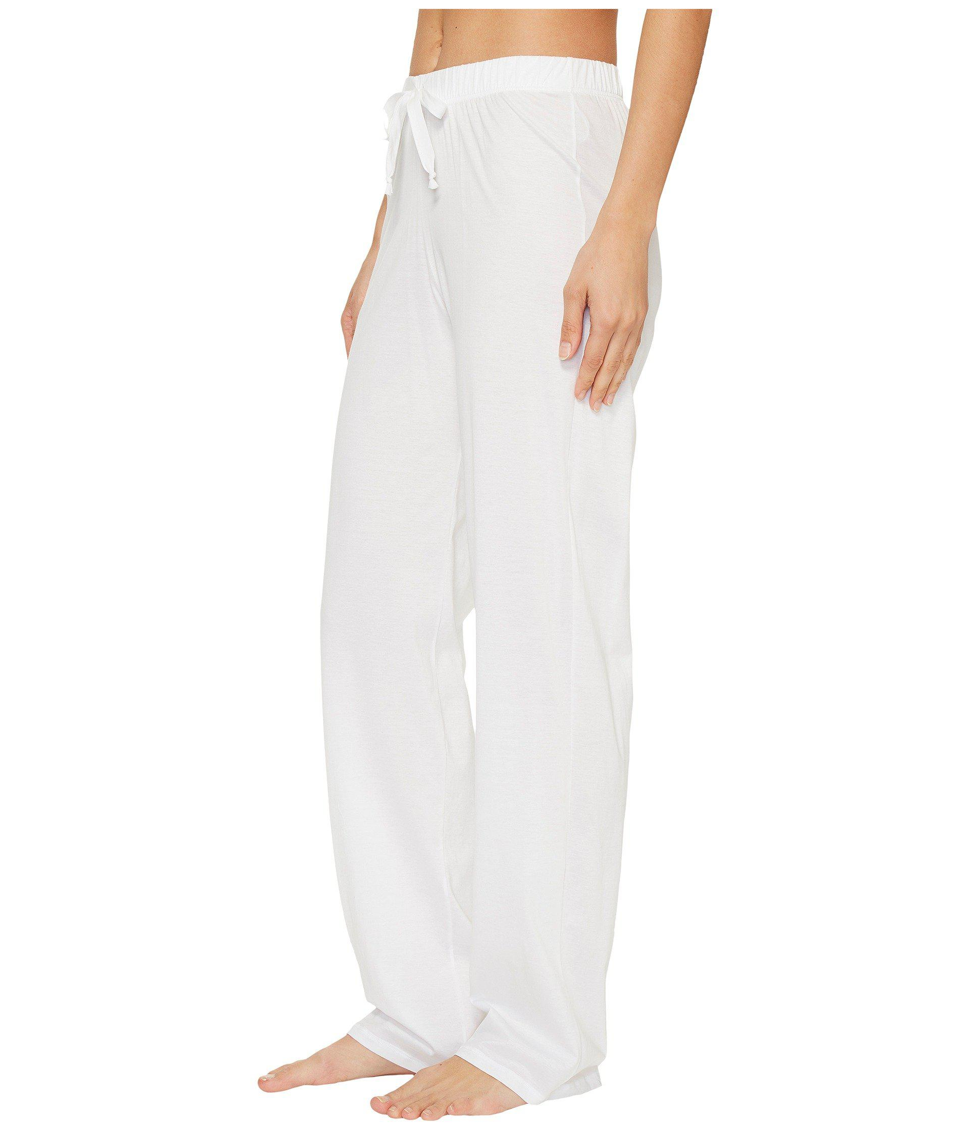 Lyst - Hanro Cotton Deluxe Drawstring Long Pants (black) Women s Pajama in  White 6708aea3a