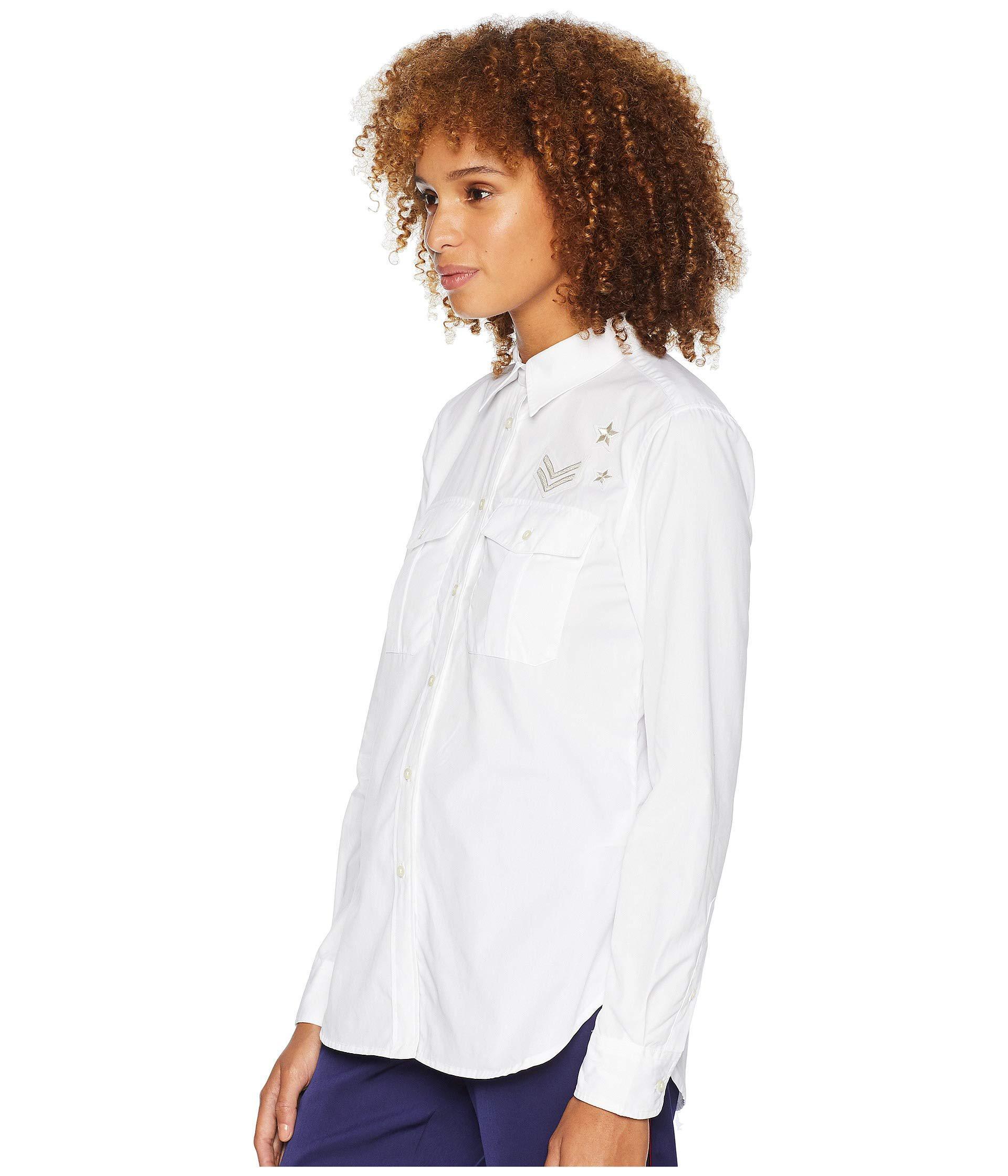 2f8c13d3848 Lyst - Lauren By Ralph Lauren Bullion-patch Poplin Shirt (white) Women s  Clothing in White