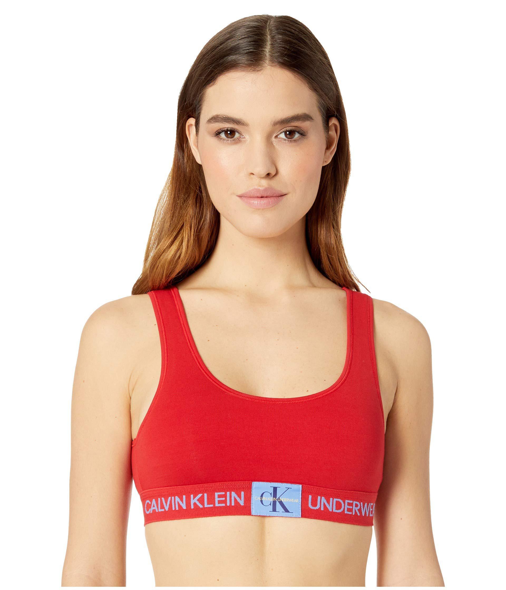 448e427c82 Calvin Klein - Monogram Unlined Bralette (manic Red) Women s Bra - Lyst.  View fullscreen