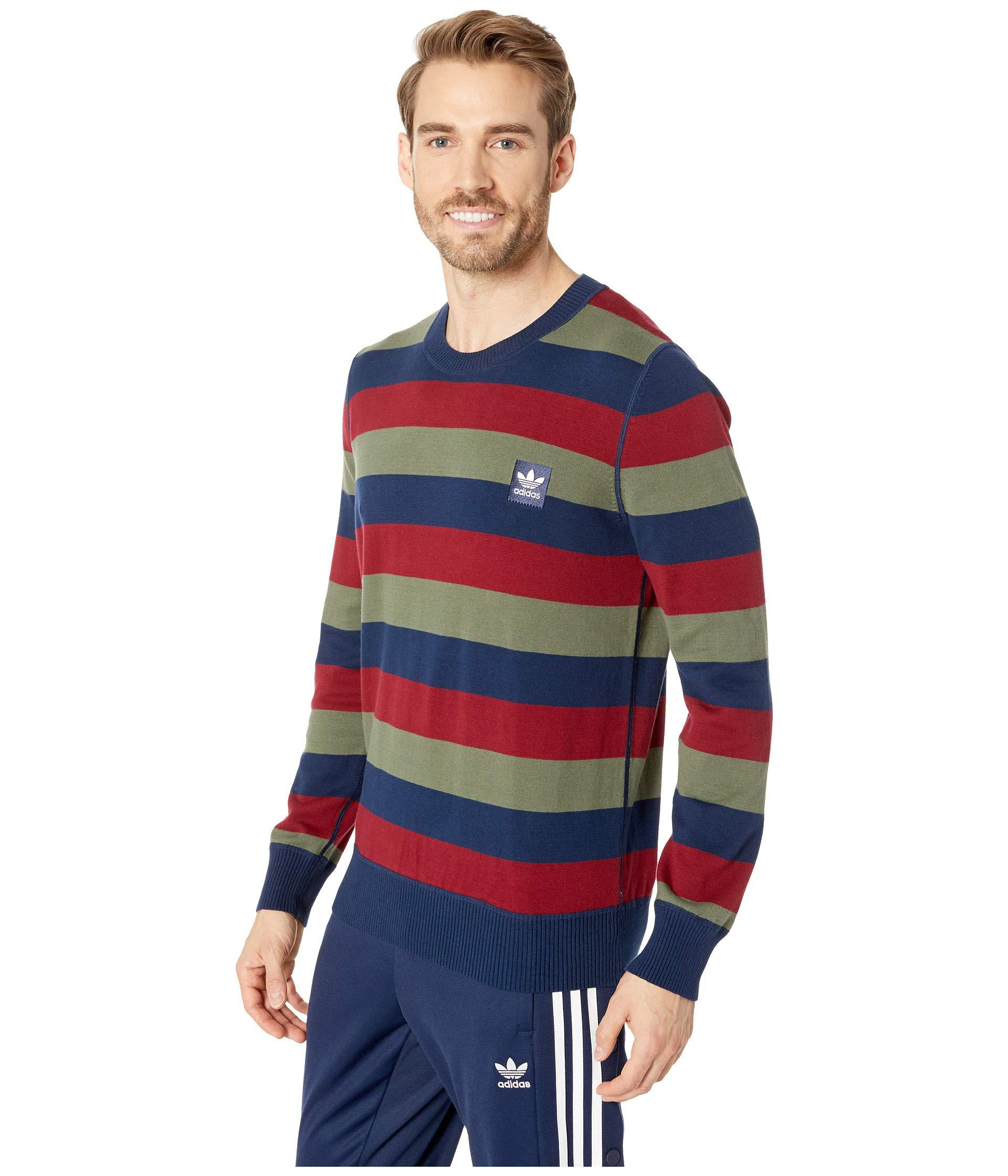 c19b5219aac0 Lyst - adidas Originals Striped Sweater (collegiate Navy collegiate  Burgundy base Green) Men s Long Sleeve Pullover in Blue for Men