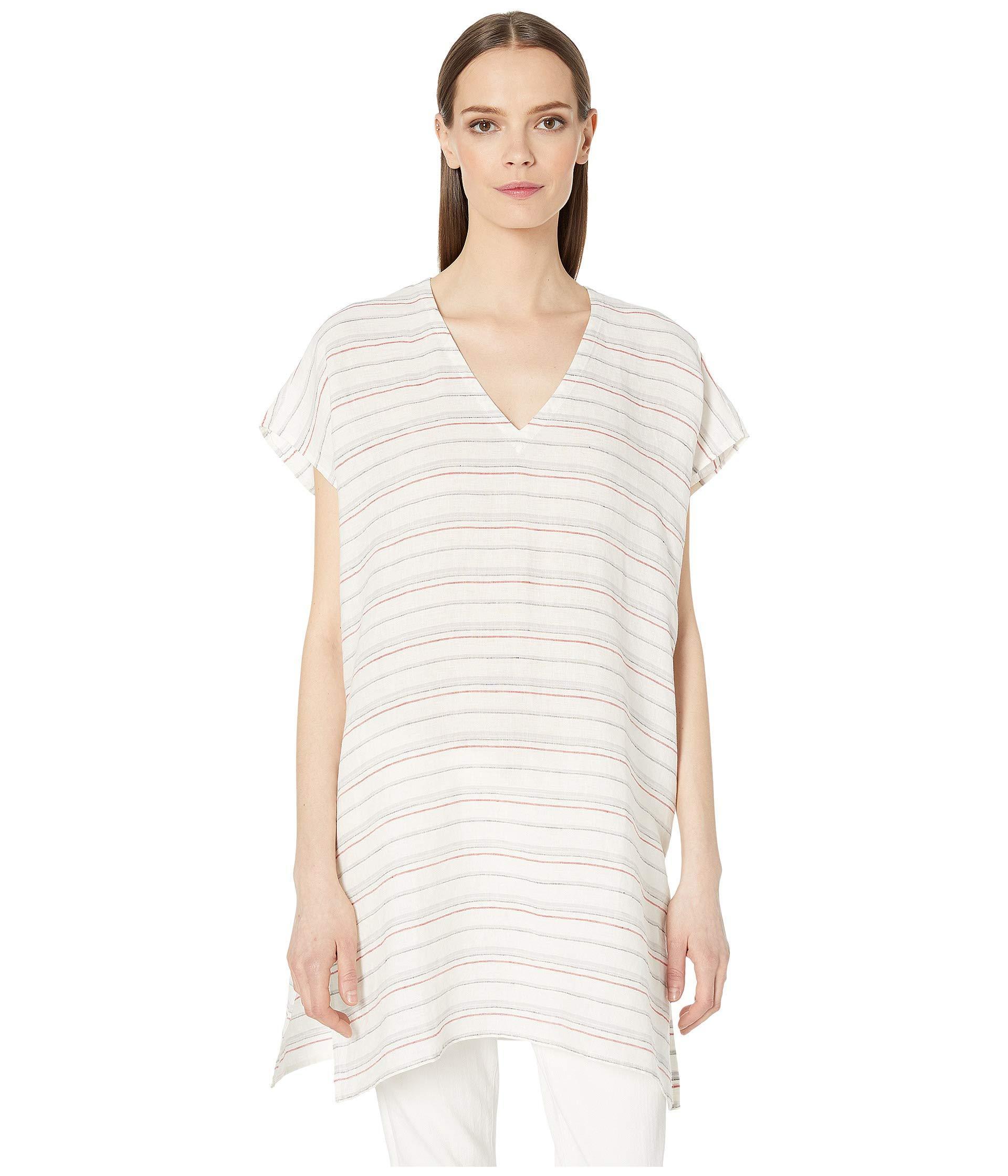 1a383b717f3 Lyst - Eileen Fisher Organic Linen Stripe V-neck Tunic (white ...
