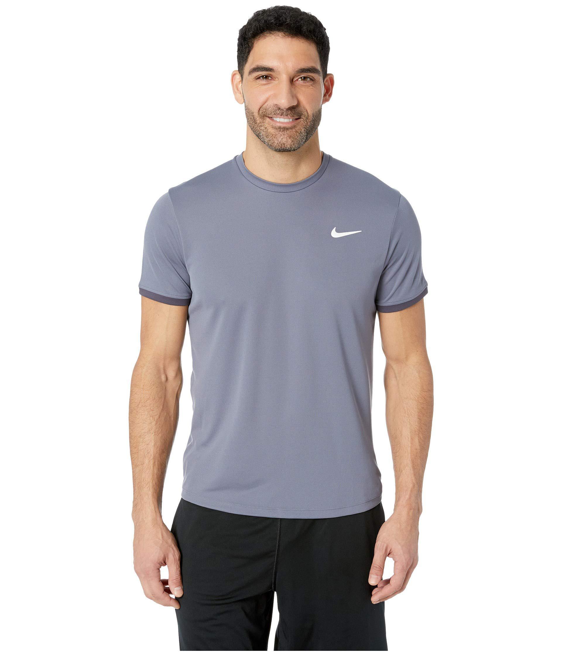 5910f2f2ec Lyst - Nike Court Dri-fit Short Sleeve Tennis Top (black/black/black ...
