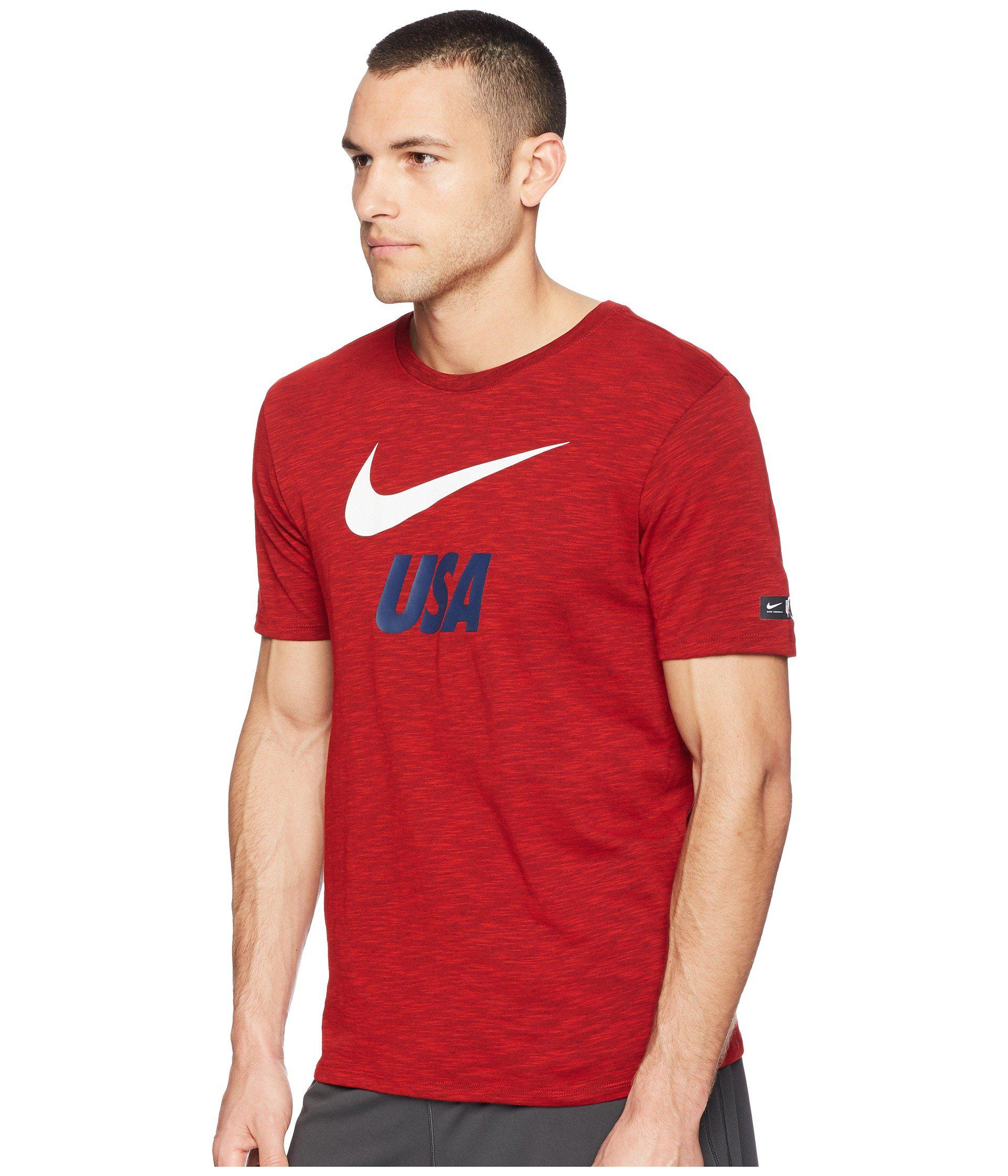 7dfd10a26e4f3 Lyst - Nike Usa Dry Tee Slub Preseason (university Red) Men s T Shirt in  Red for Men