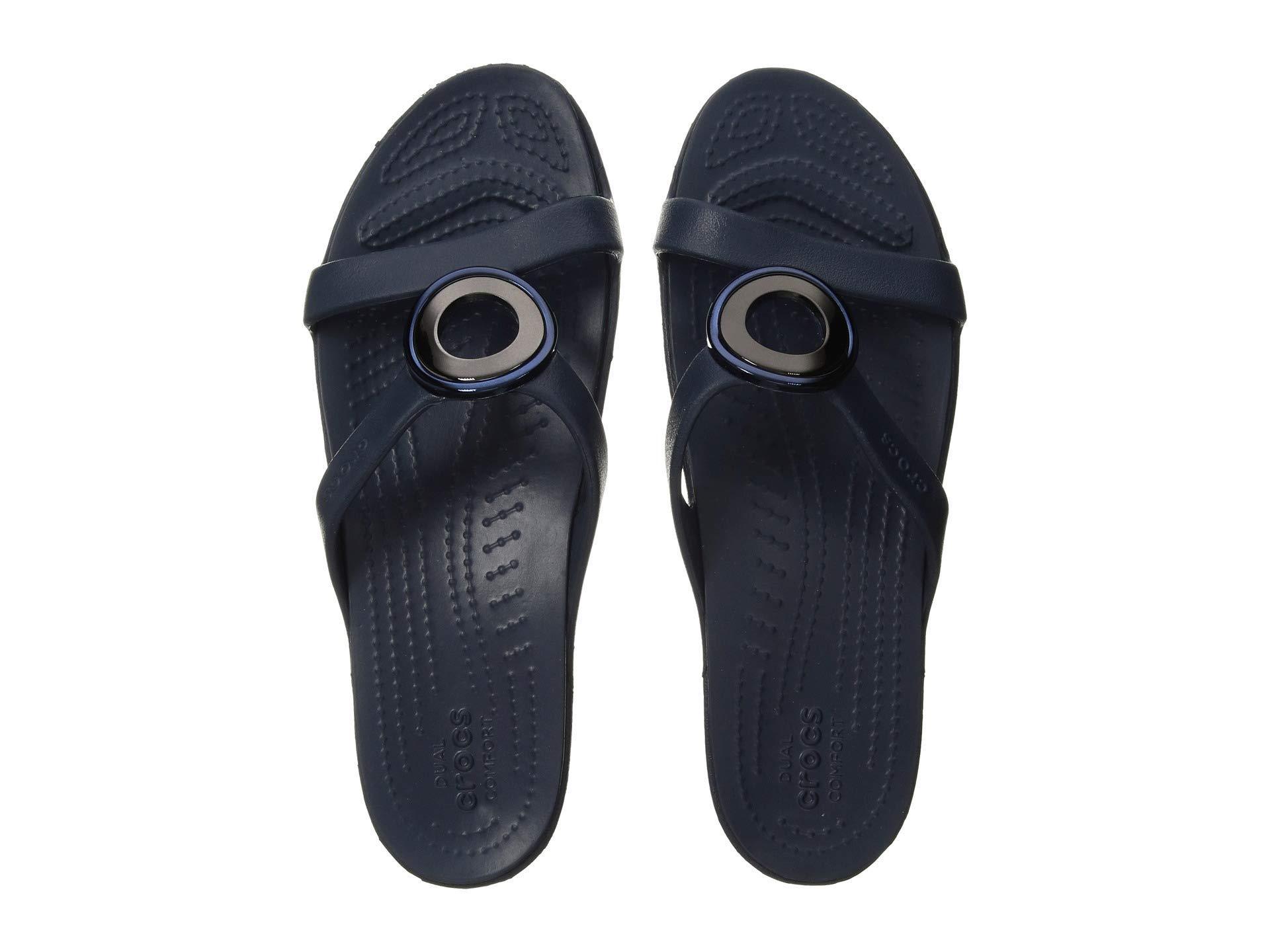 85b54c4269f Lyst - Crocs™ Sanrah Metal Block Sandal (silver navy) Women s ...