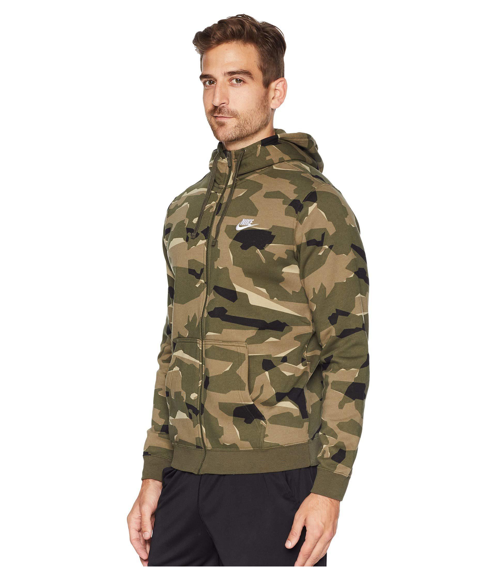 2a9a3b578 Nike Nsw Club Camo Hoodie Full Zip Bb (cargo Khaki/cargo Khaki/white ...