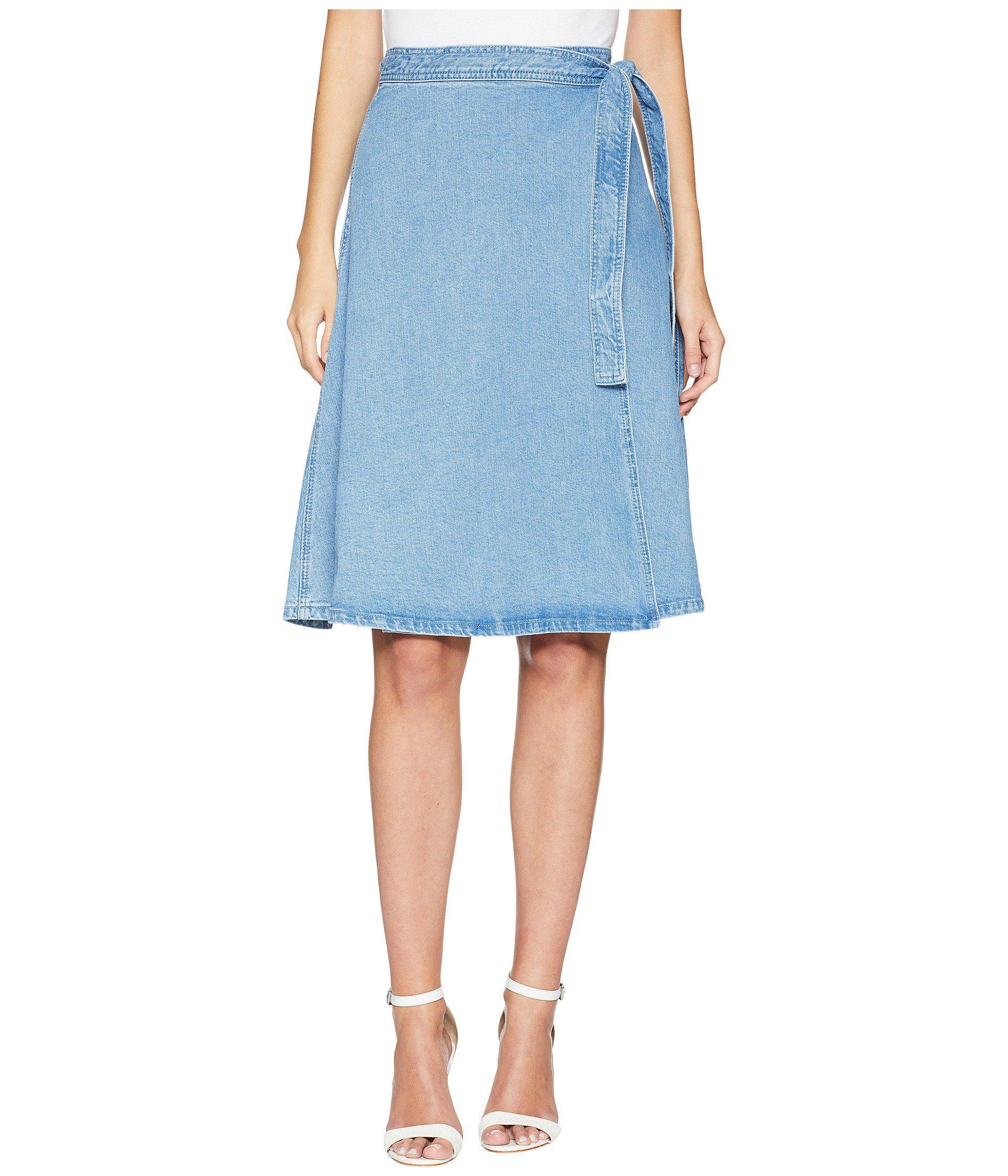 60ccea586350 Kate Spade Vintage Denim Wrap Skirt in Blue - Lyst
