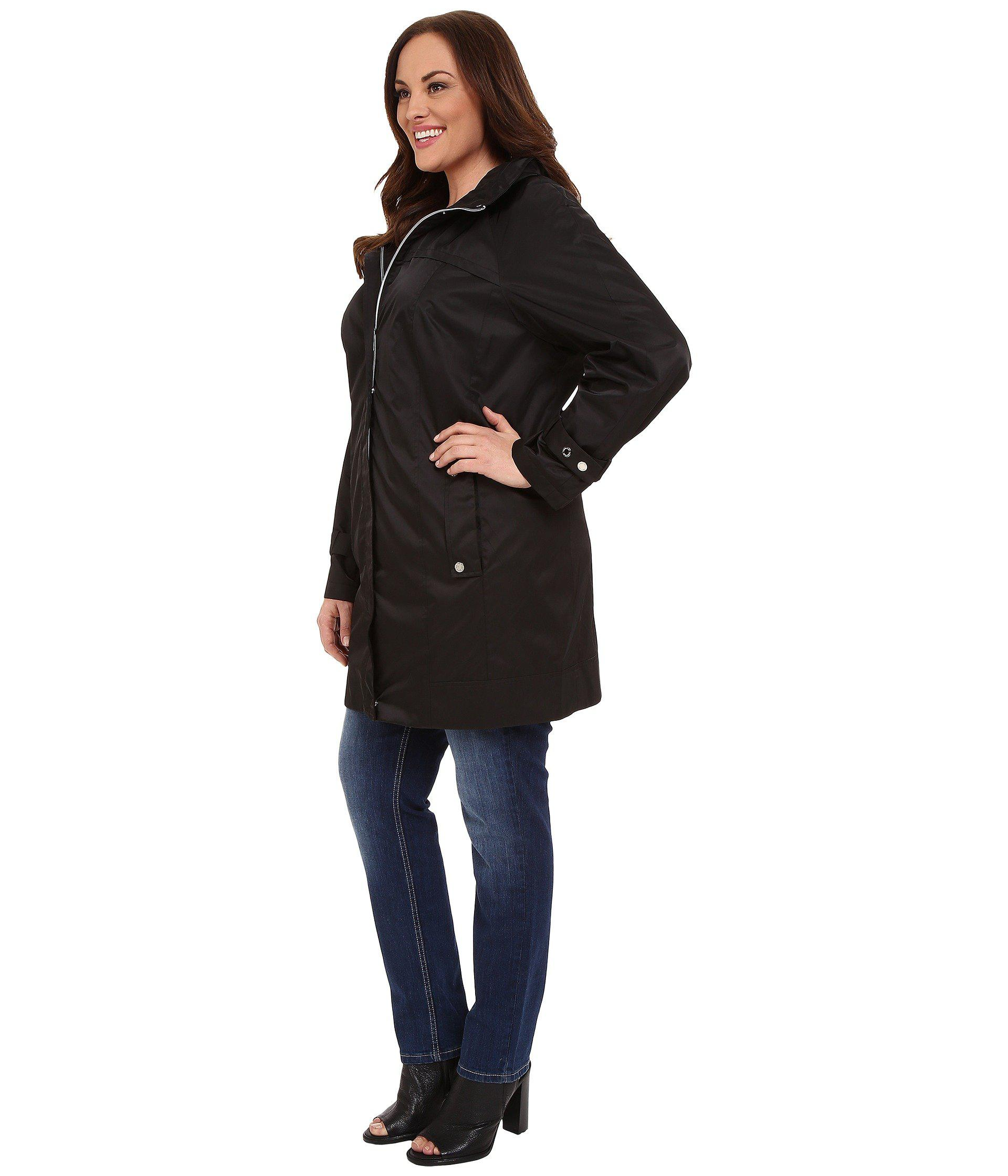 be2212c1e27 Lyst - Calvin Klein Plus Size Long Packable Anorak (black) Women s Coat in  Black