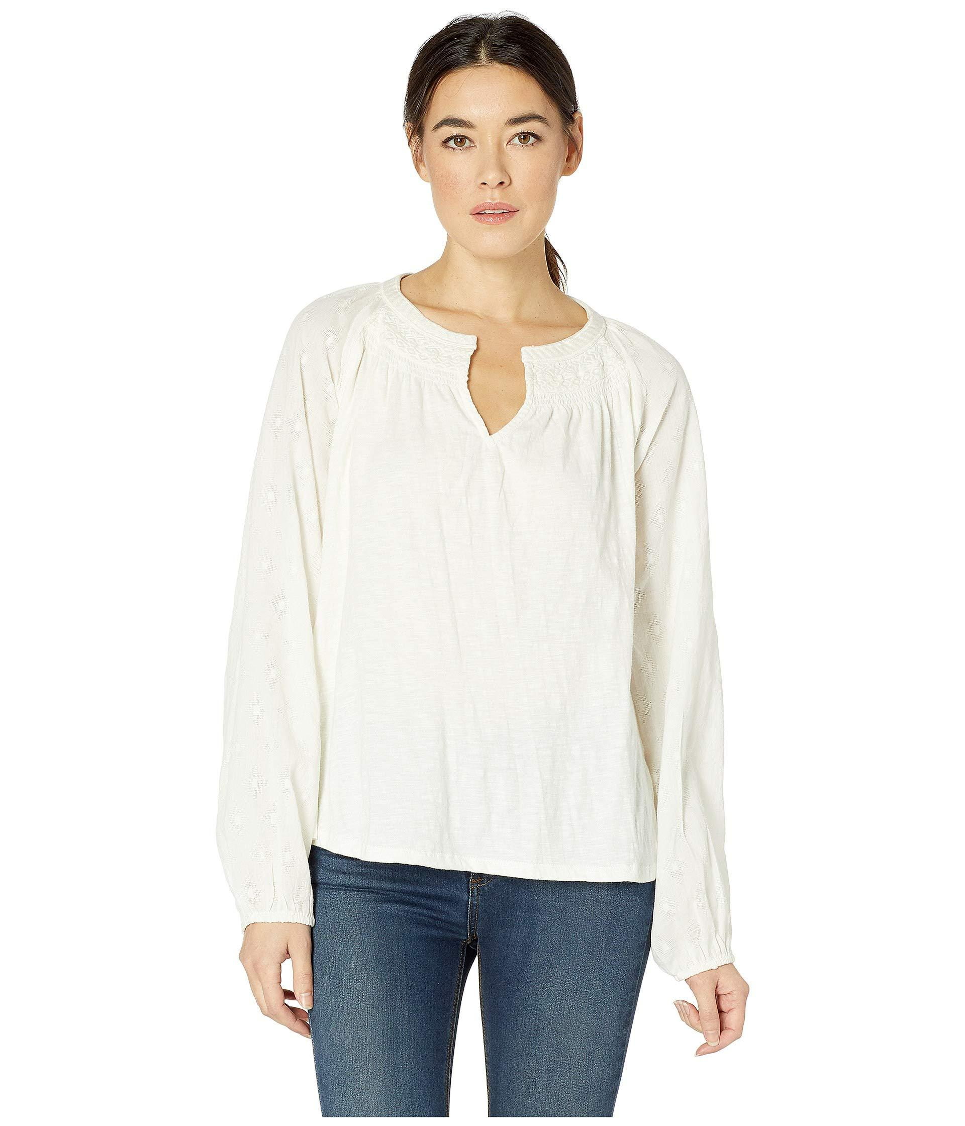 fa65715994a2a Lyst - Lucky Brand Embroidered Peasant Top (marshmallow) Women s T ...