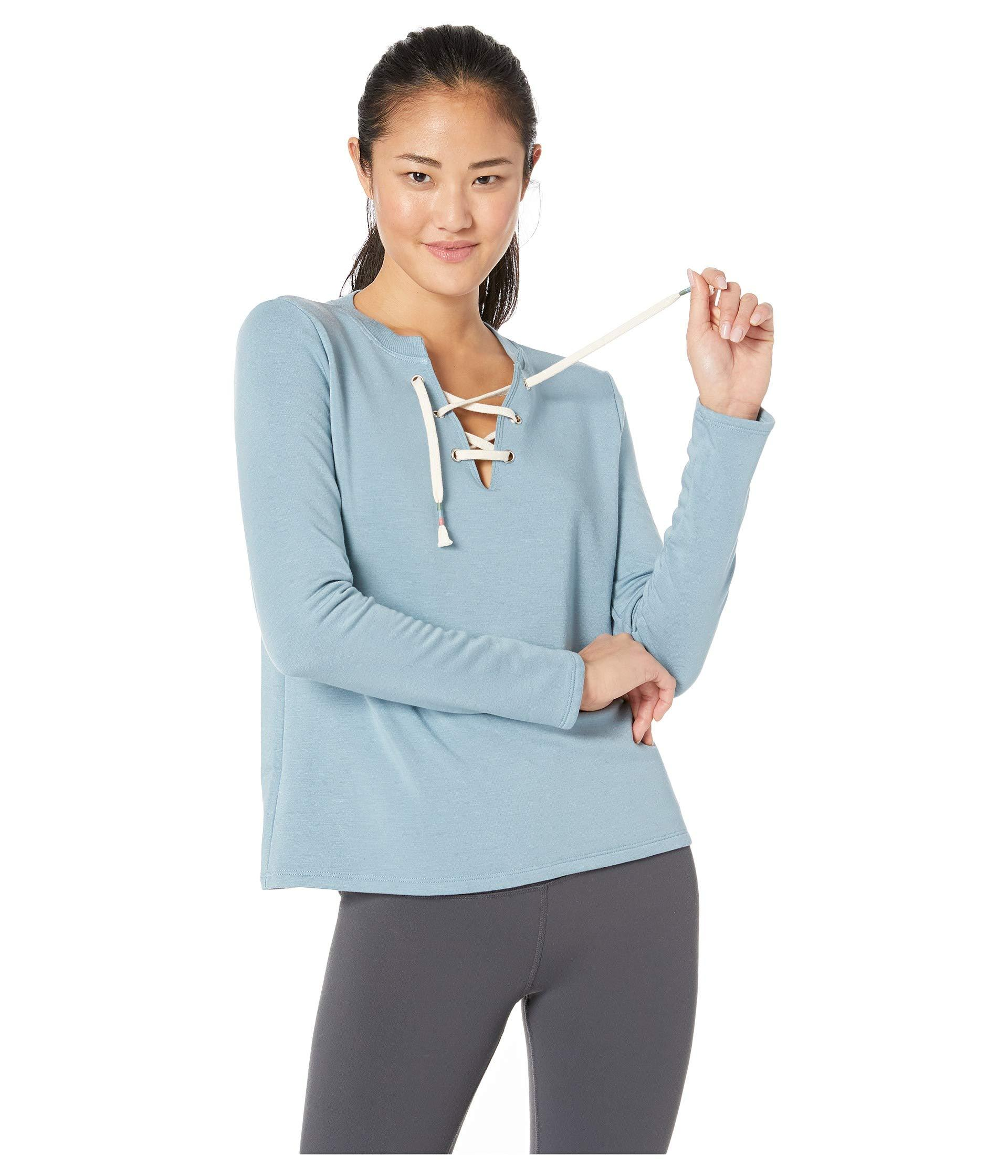 1638ee23f9 Lyst - Beyond Yoga Lace-up Pullover (tiki Tan) Women s Clothing in Blue