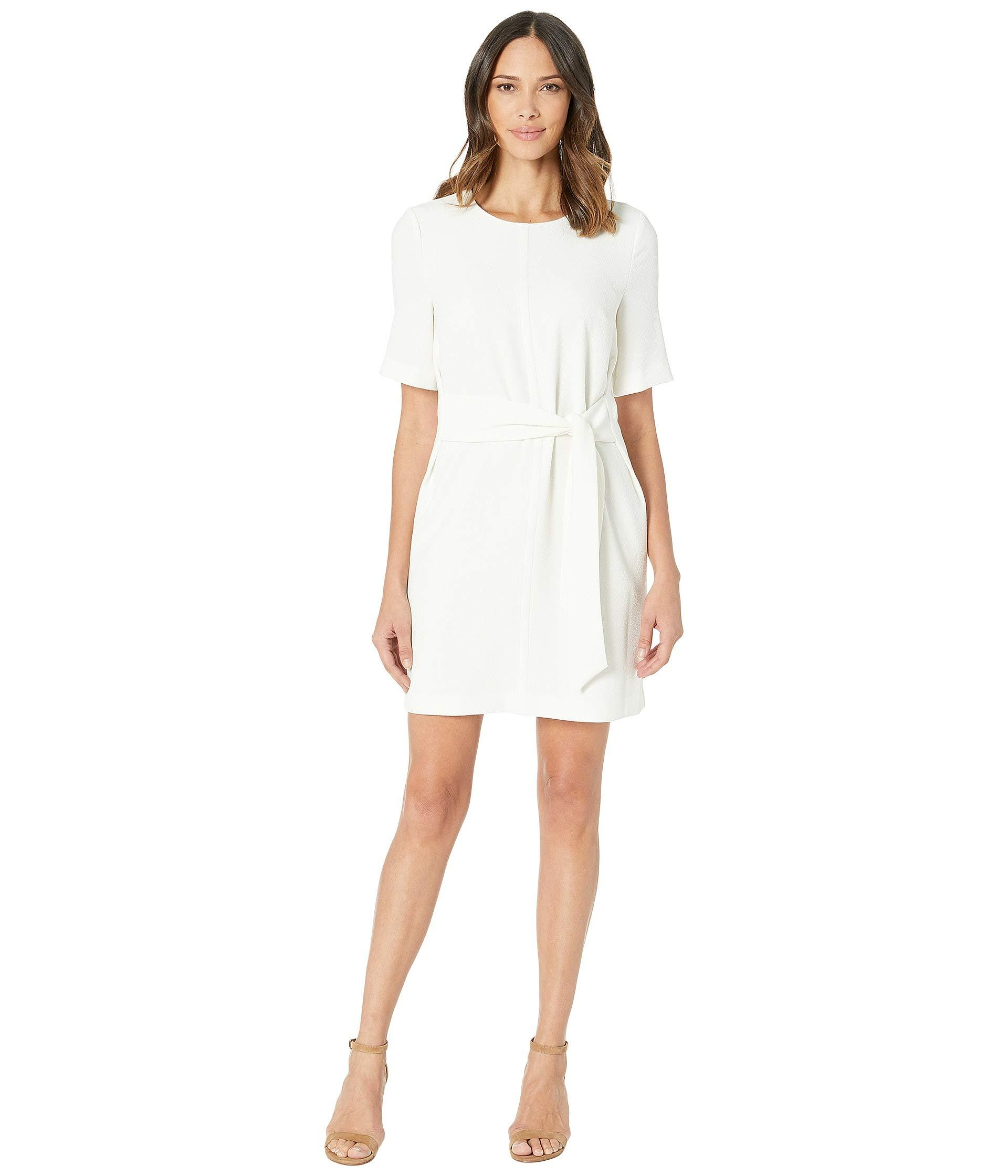 4b07a99c33 Vince Camuto Short Sleeve Parisian Crepe Belted Dress (pearl Ivory ...