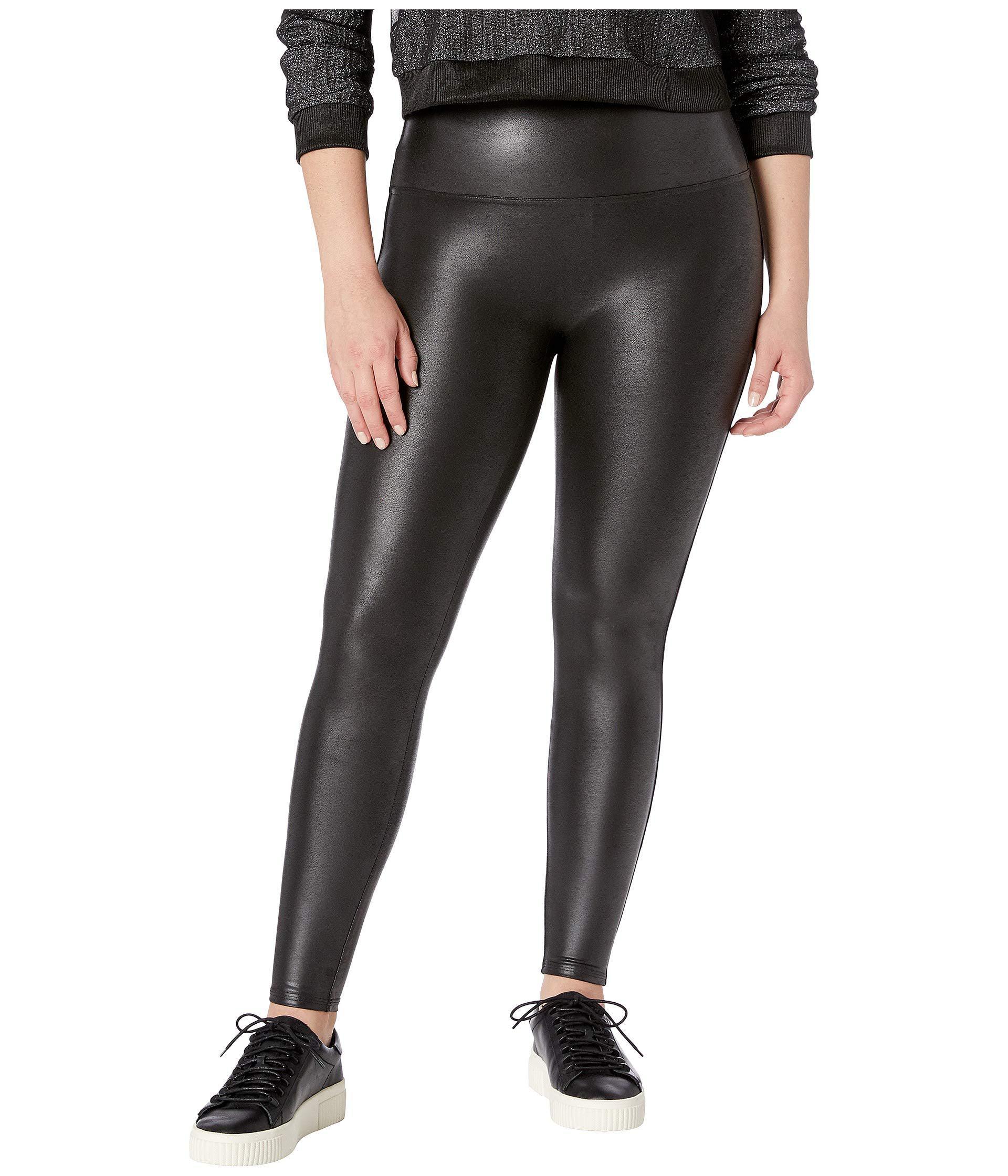 8c199a125c2 Lyst - Spanx Plus Size Faux Leather Petite Leggings (black) Women s ...