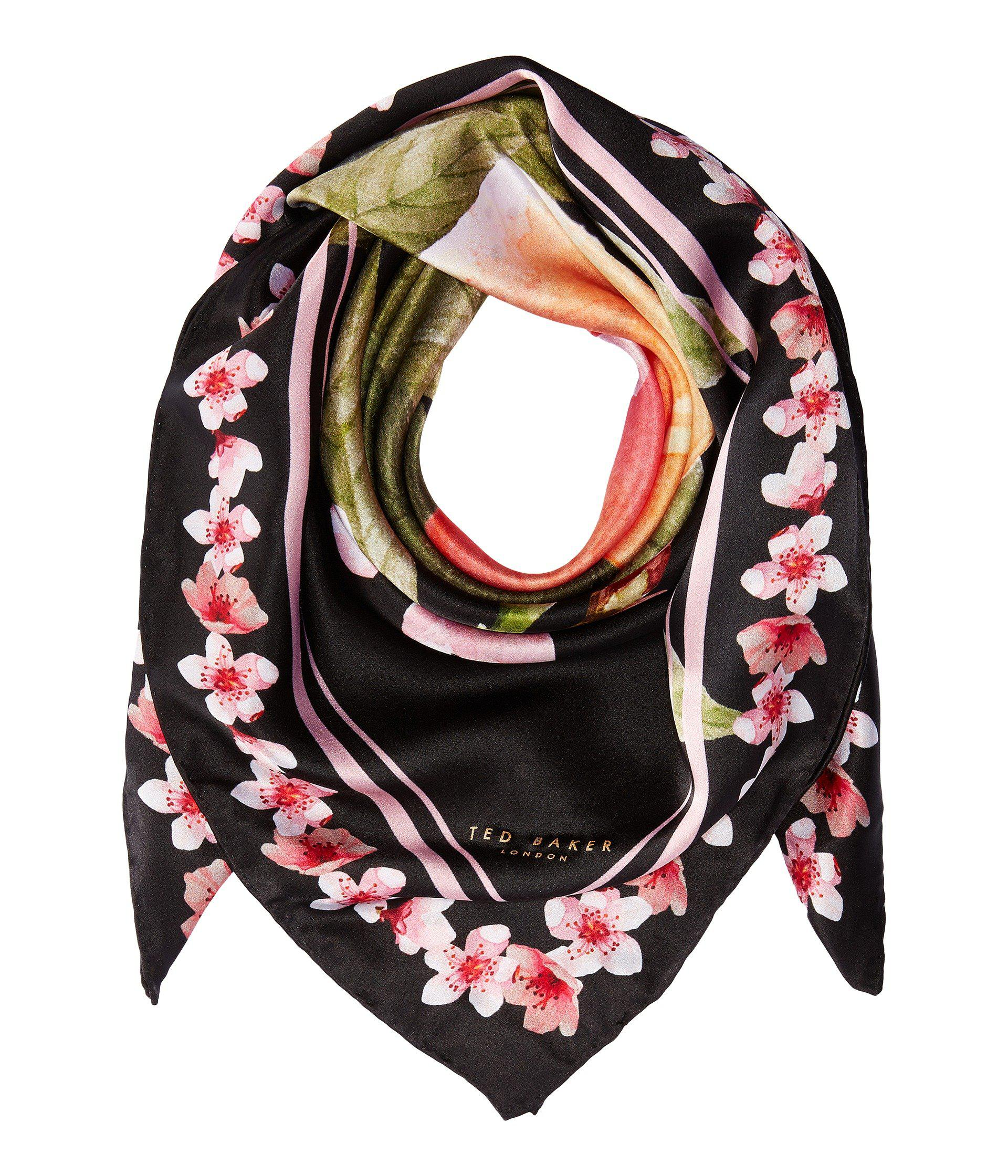 026b8ef2110580 Lyst - Ted Baker Peach Blossom Square Scarf in Black