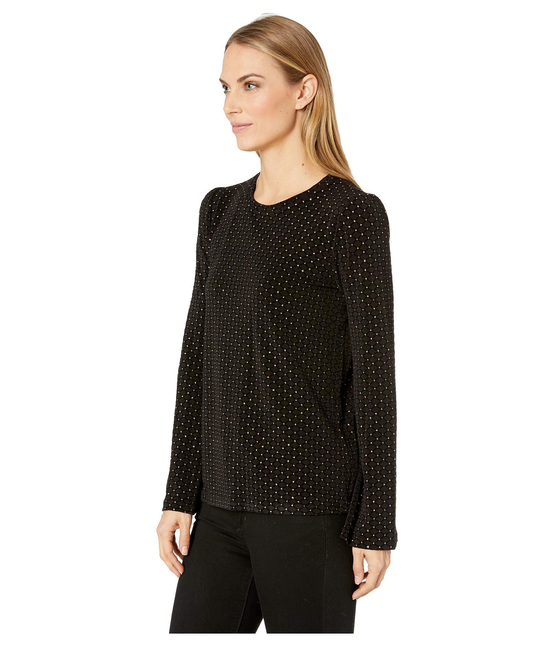 80955ef6d5c Lyst - MICHAEL Michael Kors Easy Bell Sleeve Long Sleeve Top (black gold)  Women s Clothing in Black