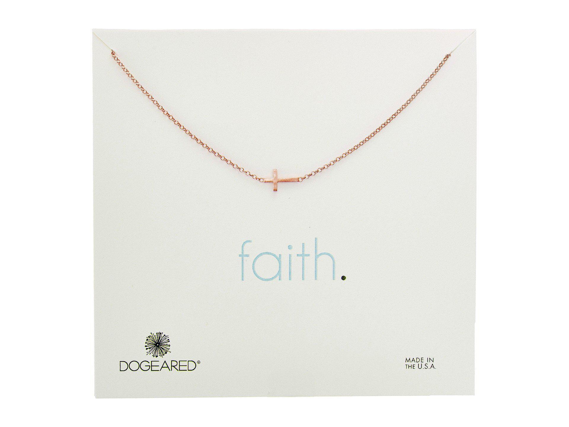 64f8f9b02da79 Lyst - Dogeared Faith, Small Sideways Cross Necklace in Metallic