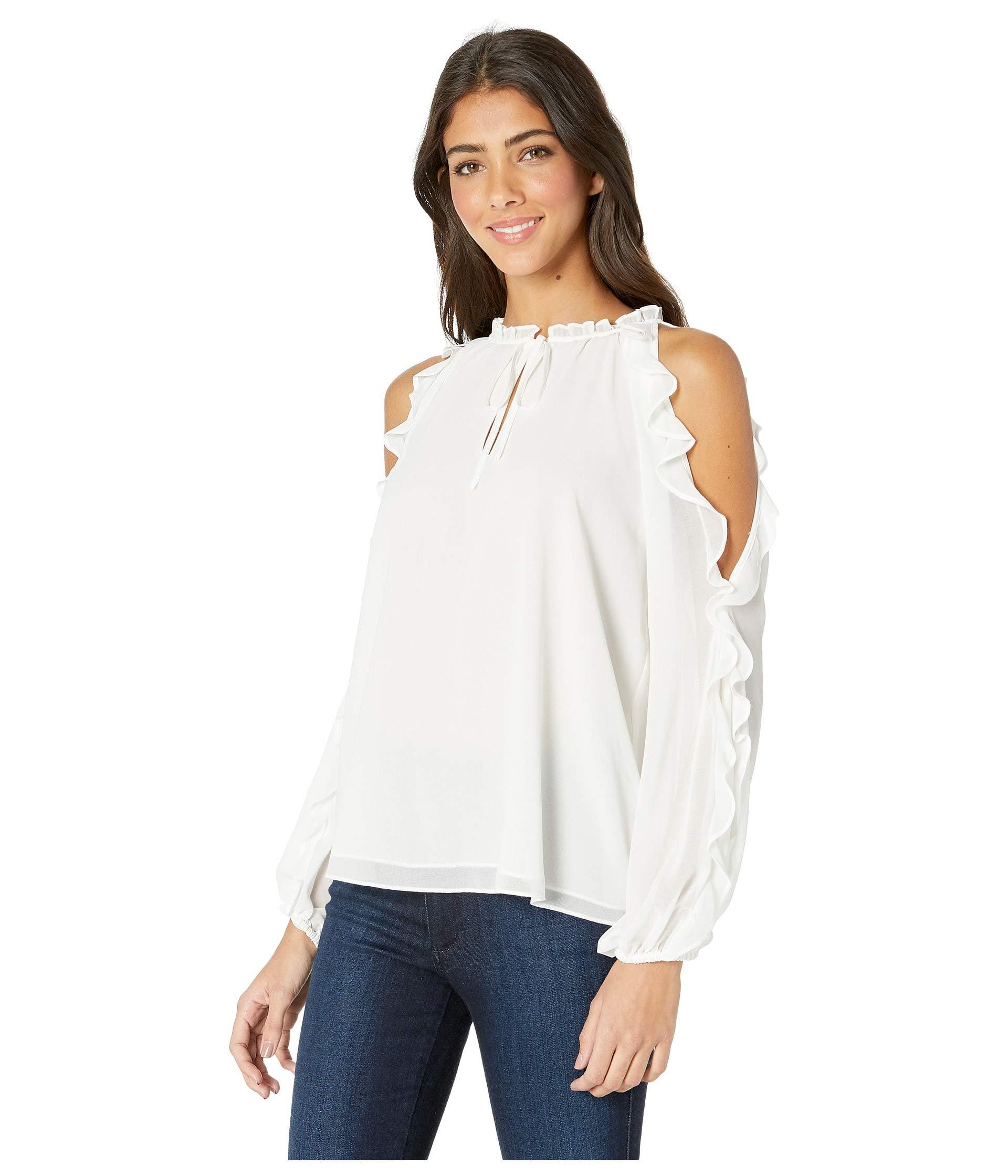 25a446c16369b1 STATE Ruffle Sleeve Cold Shoulder Tie Neck Blouse (rich Black) Women s  Blouse in White