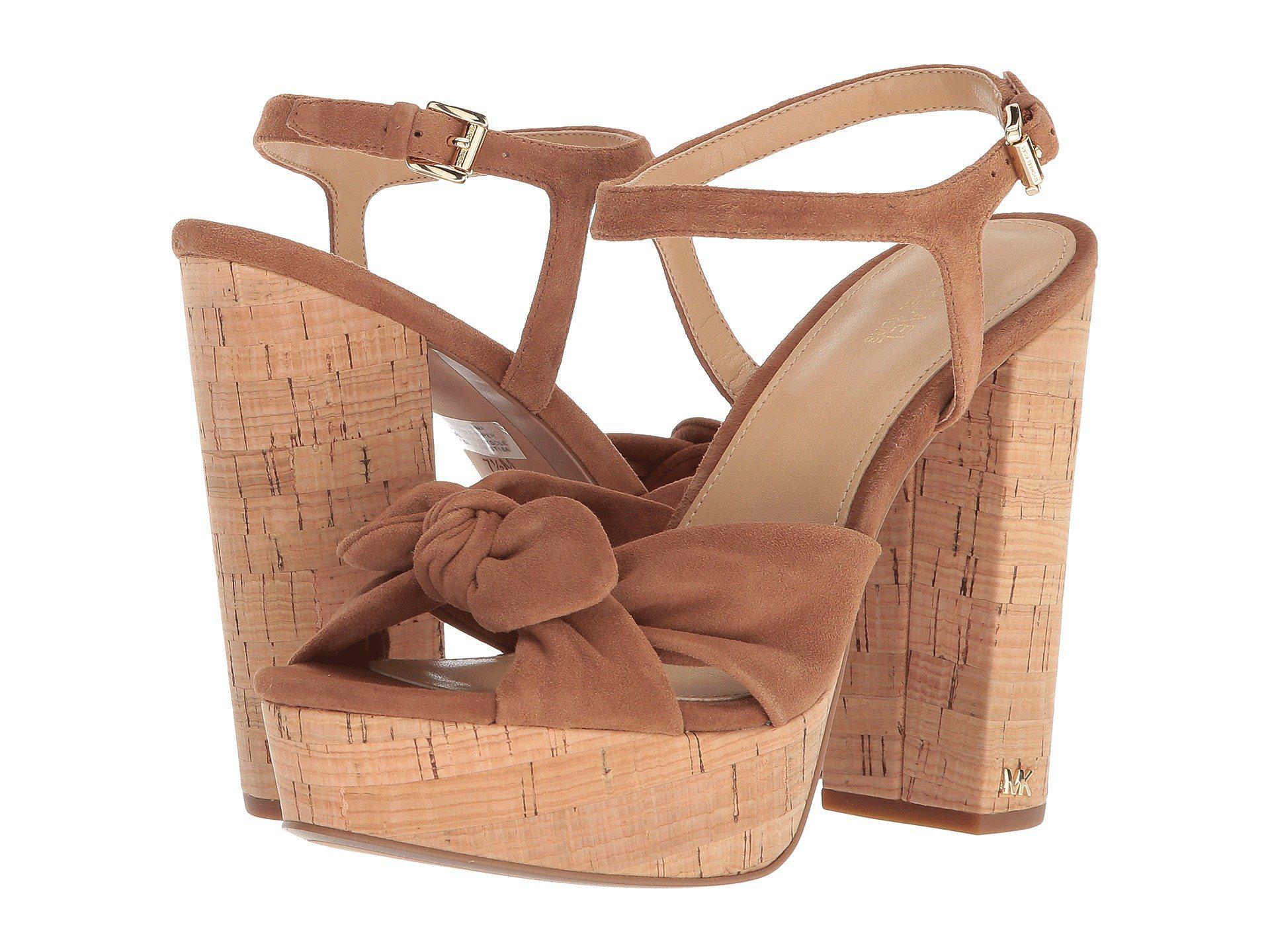 b1e9770313 MICHAEL Michael Kors Pippa Platform (luggage Kid Suede/cork) Women's ...