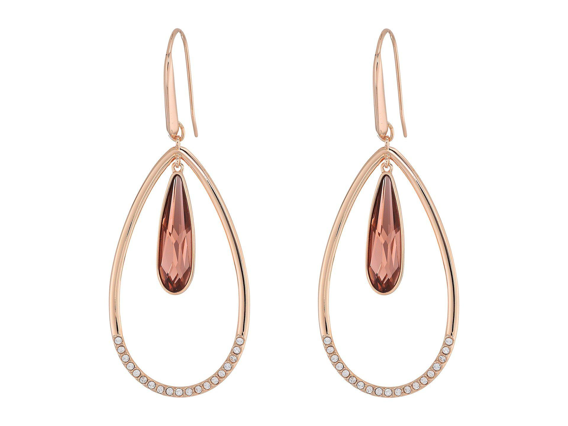 e8f4da243e540b Swarovski Lisanne Hoop Pierced Earrings (violet/rose Gold Plating ...