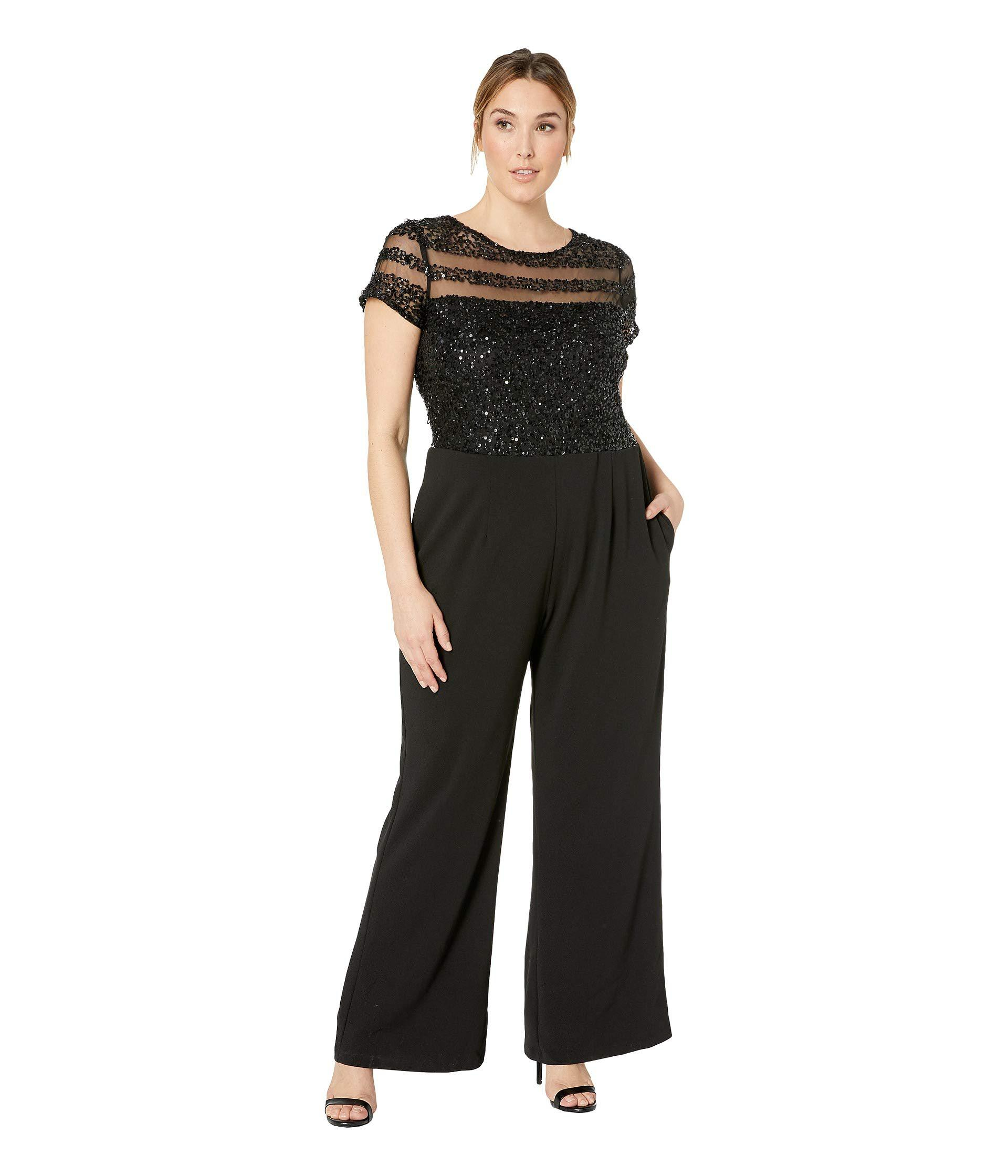 8758959615f Lyst - Adrianna Papell Plus Size Crepe Jumpsuit (black) Women s ...