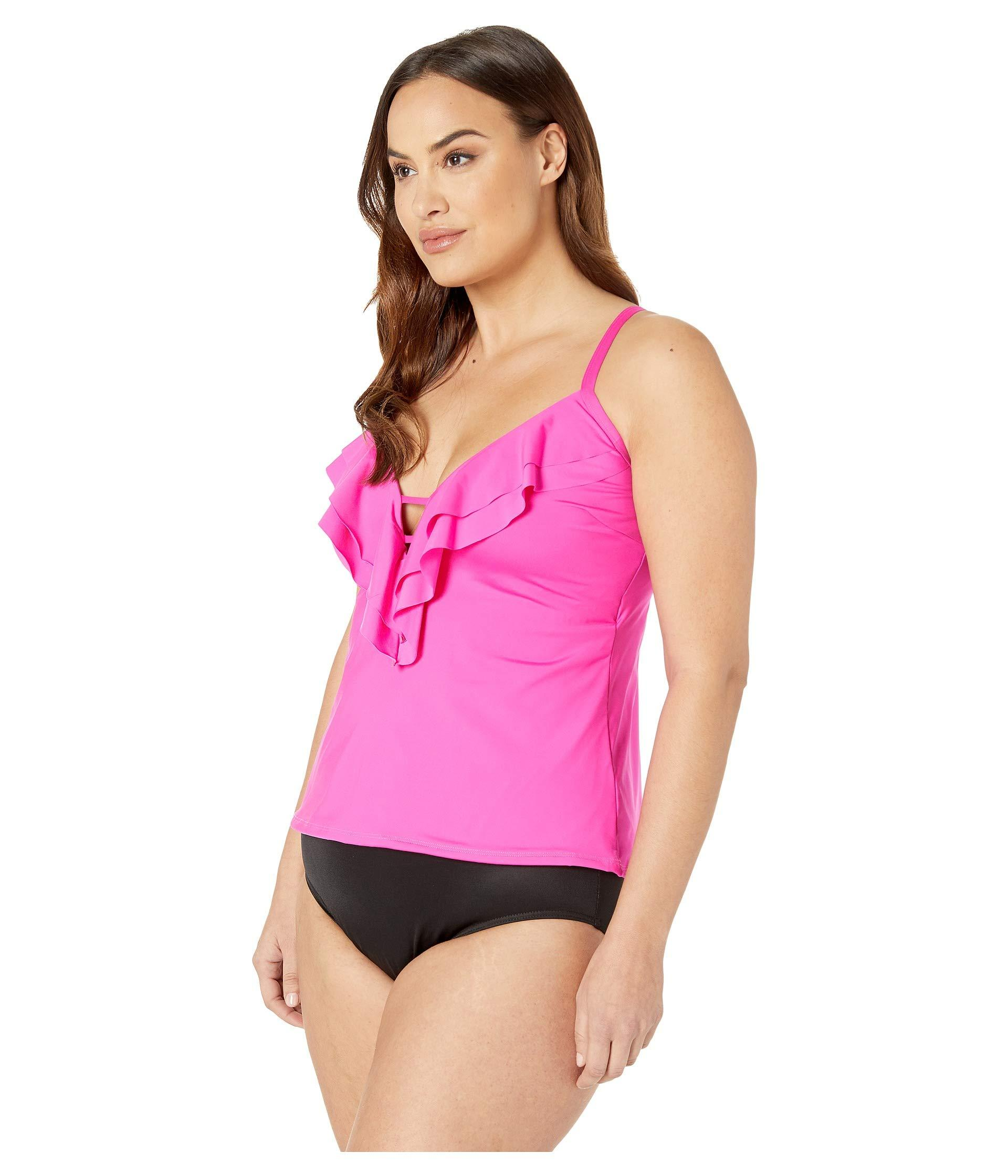 f284d8352a4 Lyst - Kenneth Cole Plus Size Ruffle-licious Ruffle Tankini (black) Women's  Swimwear in Pink