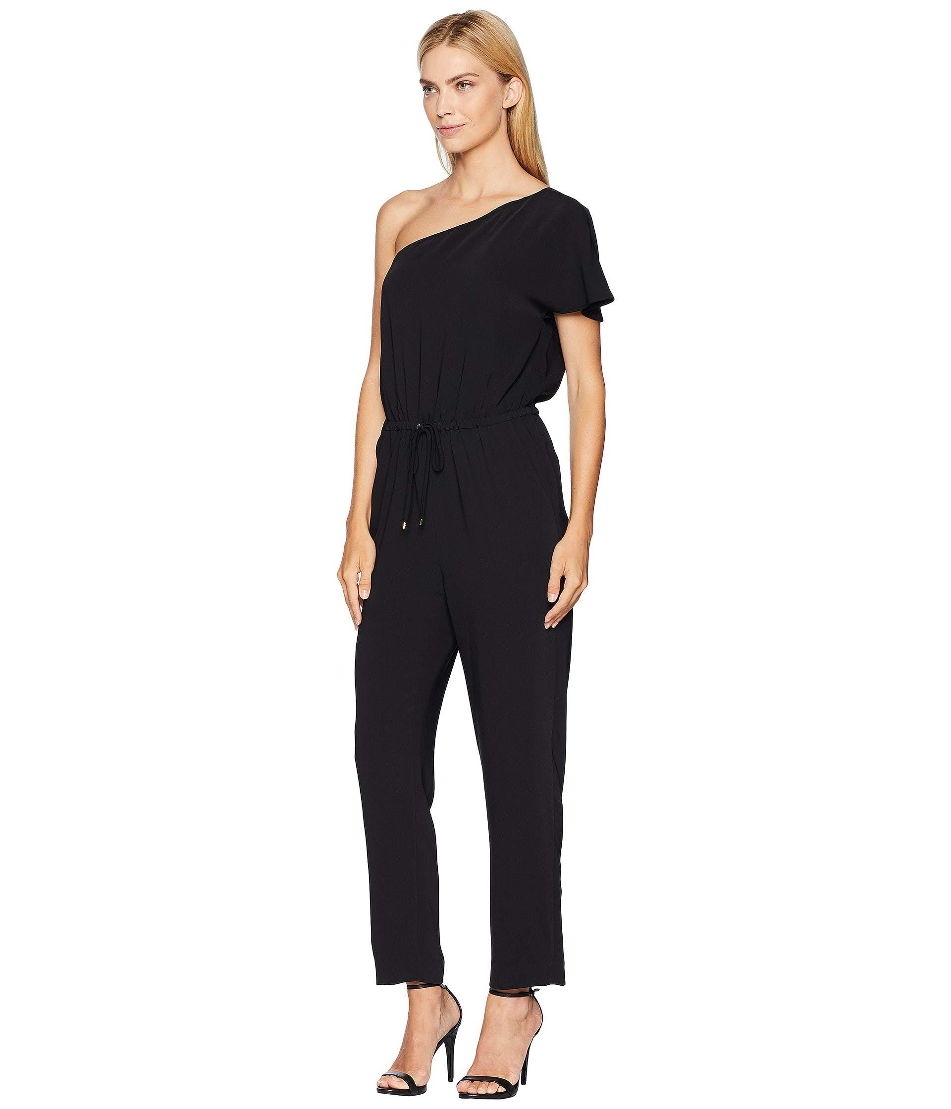 51a5263cfa9 Lyst - Lauren by Ralph Lauren Twill One-shoulder Jumpsuit (polo Black)  Women s Jumpsuit   Rompers One Piece in Black