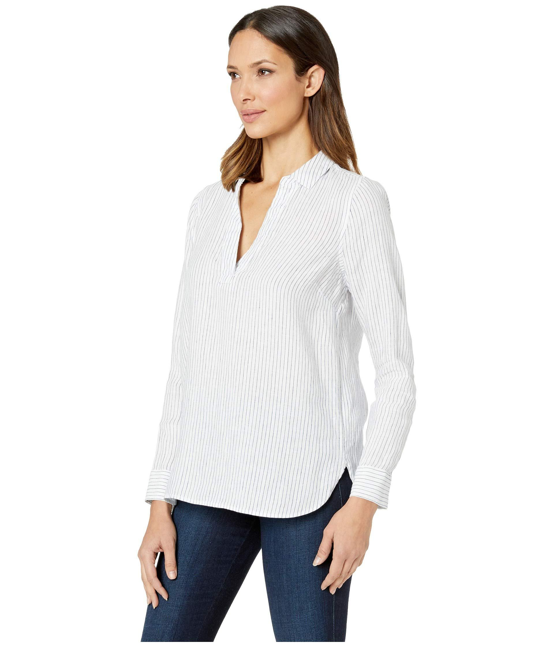 f201c7cad77fa Lyst - NYDJ Linen Popover Tunic (peacoat) Women s Clothing in White
